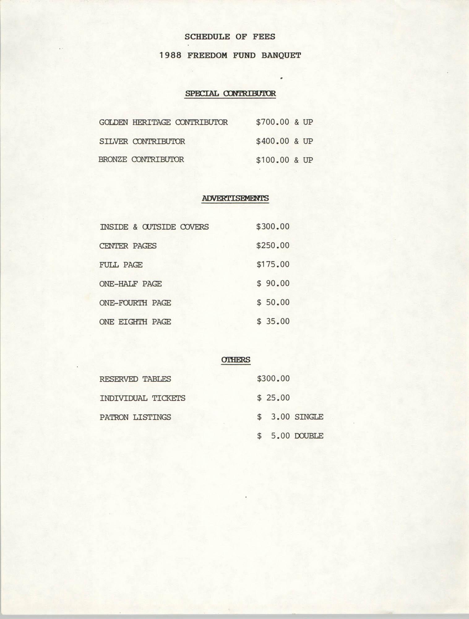 Schedule of Fees, 1988 Freedom Fund Banquet
