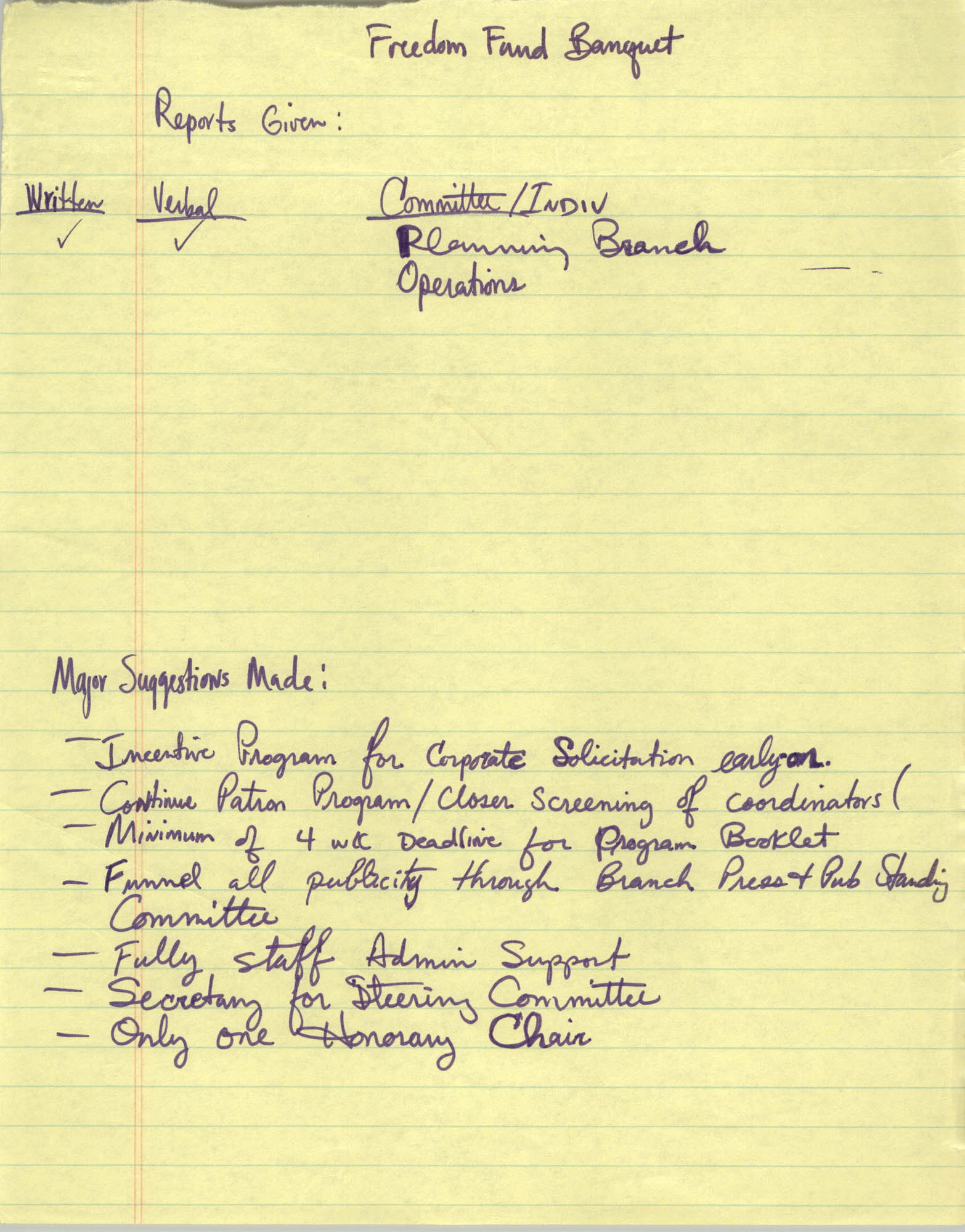 Handwritten Notes, Freedom Fund Banquet Report