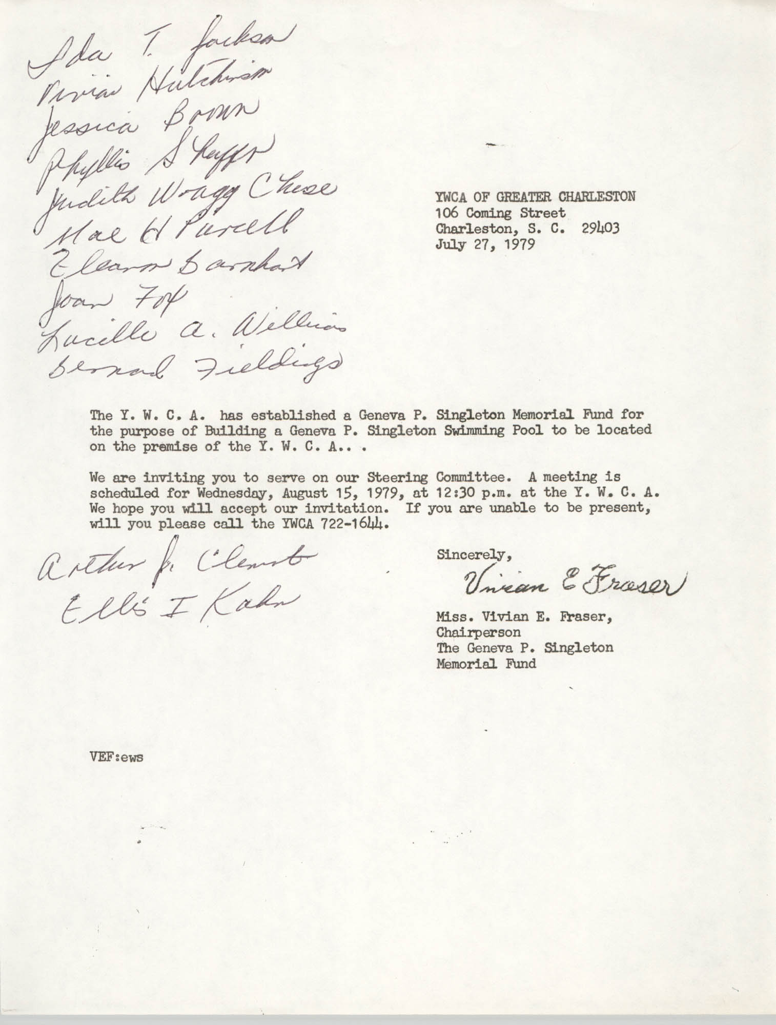Letter from Vivian E. Frader, July 27, 1979