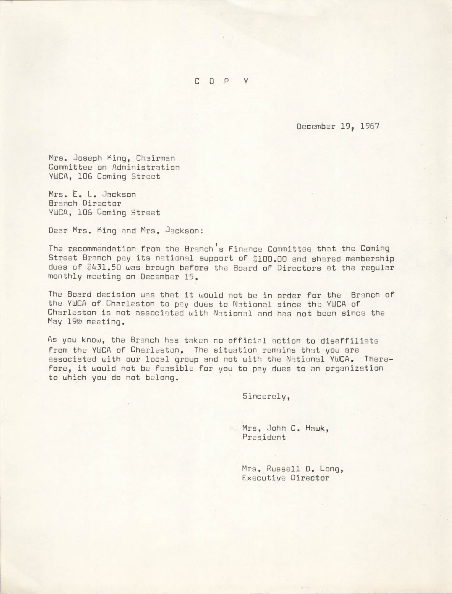 Letter from Mrs. John C. Hawk and Mrs. Russell D. Long to Mrs. Joseph King and Christine O. Jackson, December 19, 1967