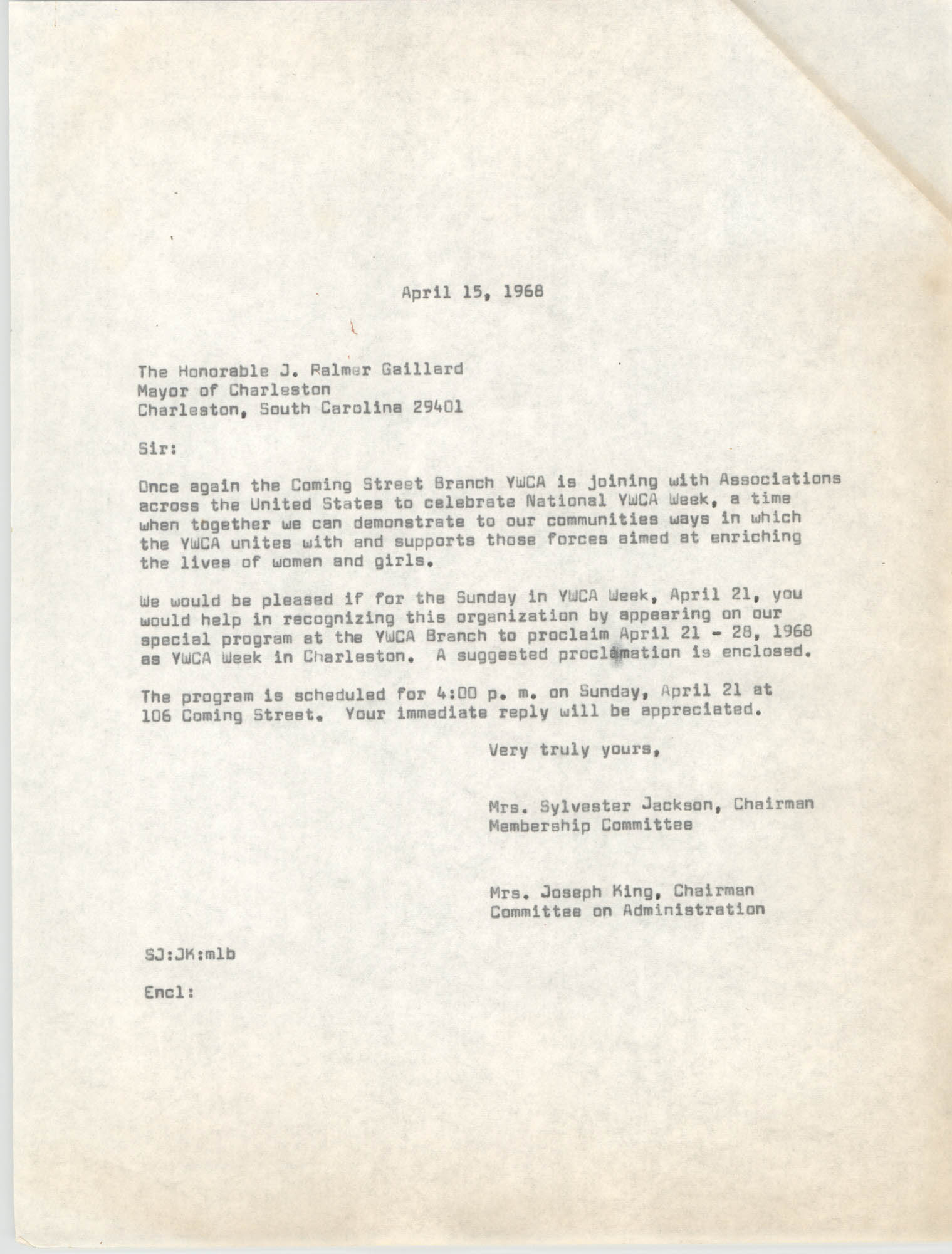 Letter from Mrs. Sylvester Jackson and Mrs. Joseph King to J. Palmer Gaillard, April 15, 1968