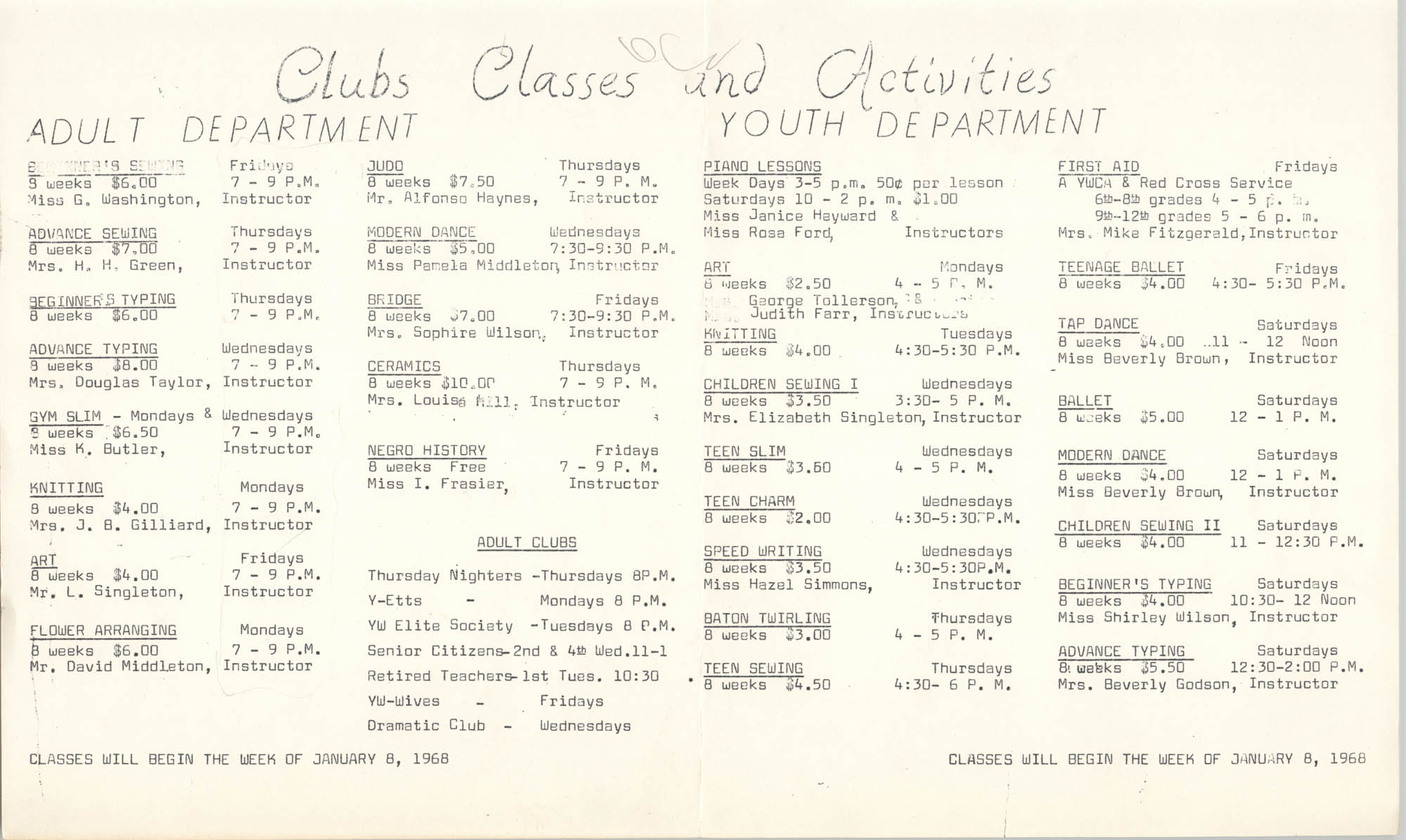 Clubs Classes and Activities, Coming Street Y.W.C.A., January 8, 1968