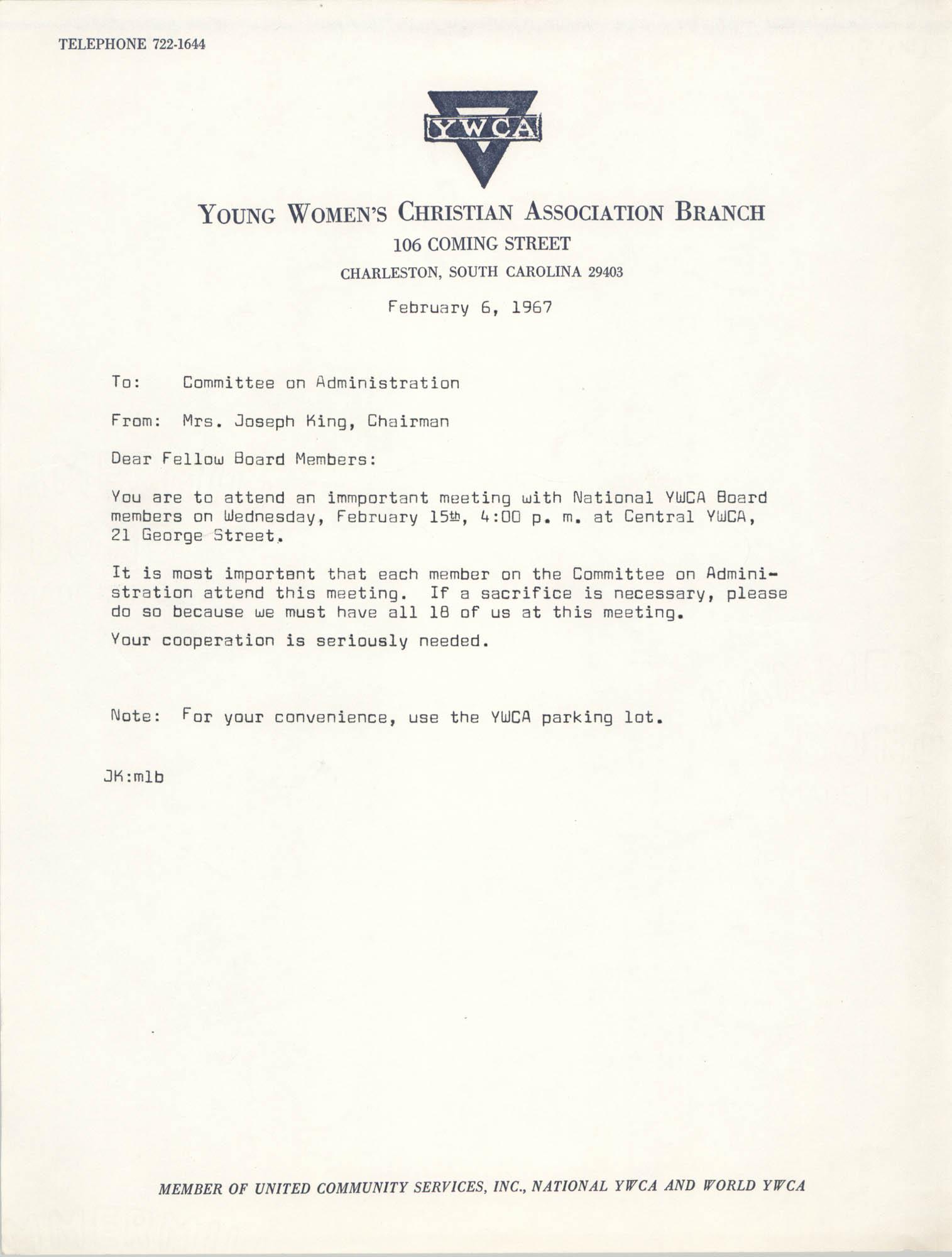 Coming Street Y.W.C.A. Memorandum, February 6, 1967