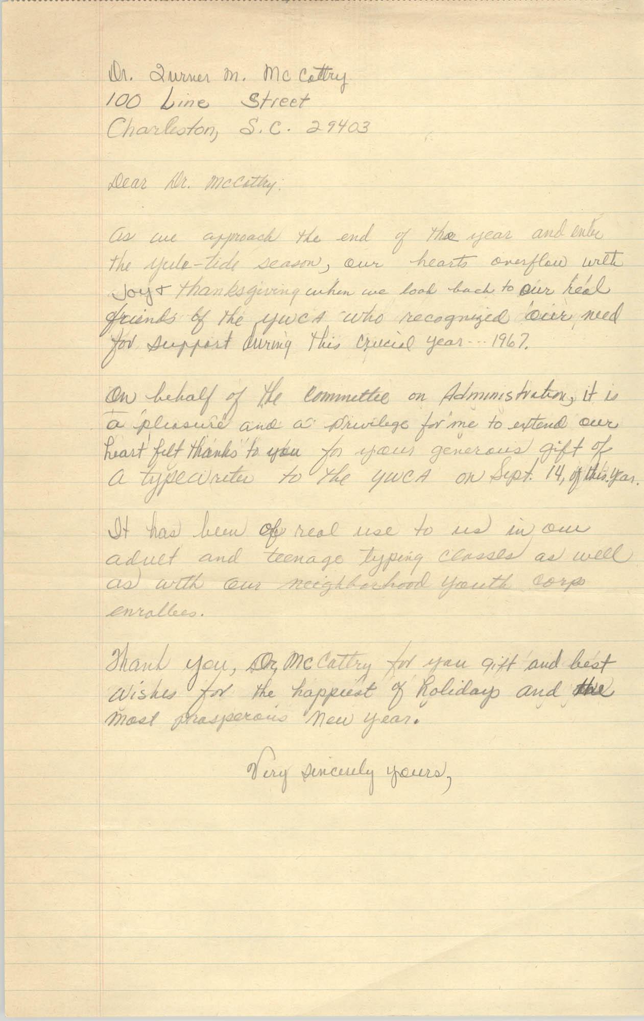 Letter to Turner M. McCottry, 1967
