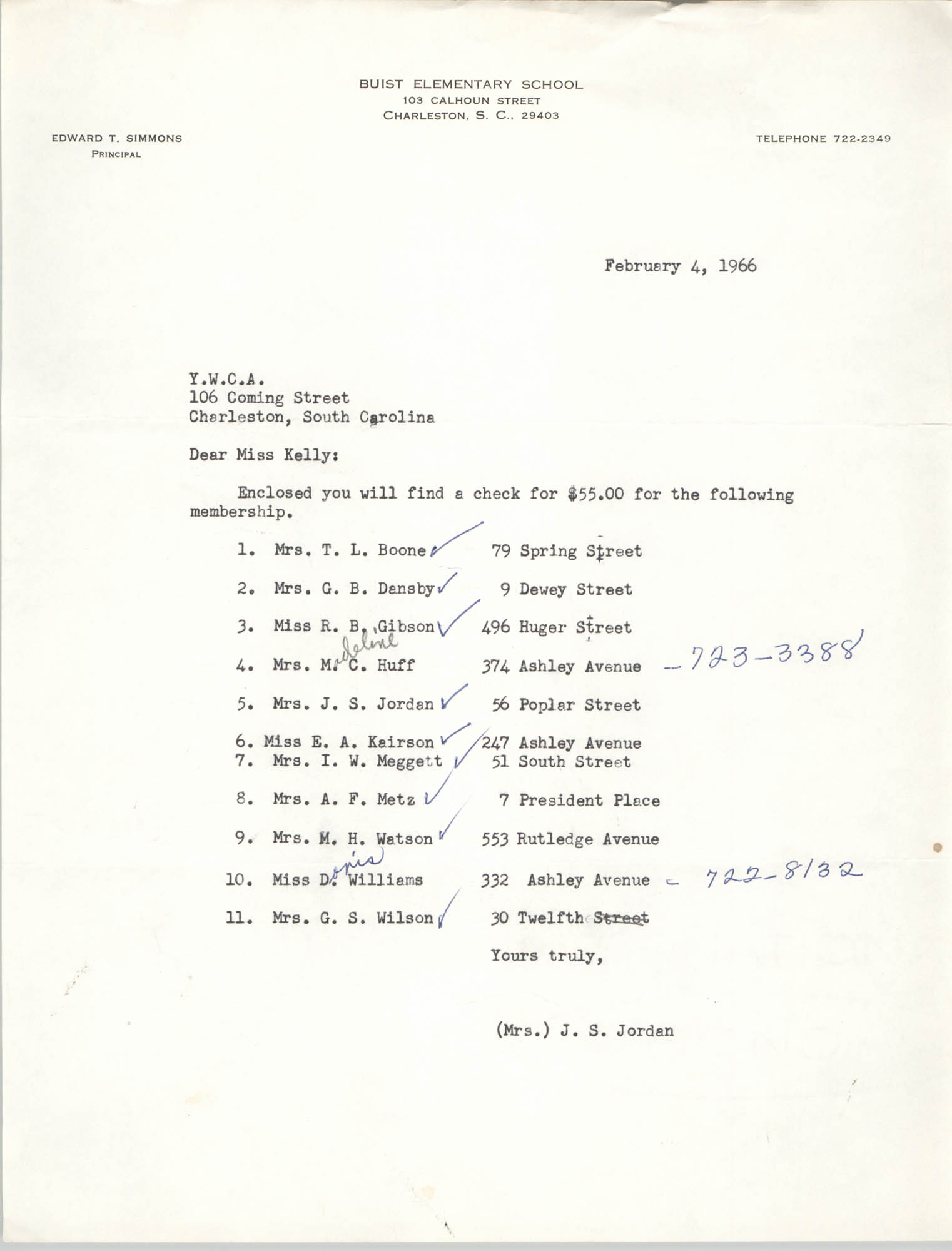 Letter from Buist Elementary School to Coming Street Y.W.C.A., February 4, 1966