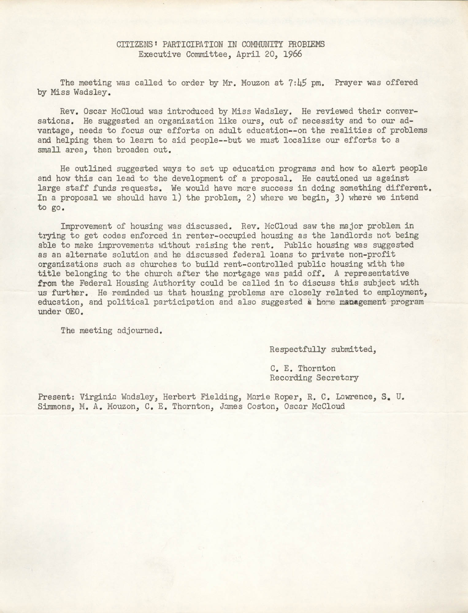 Minutes to the Citizens' Participation in Community Problems, April 20, 1966