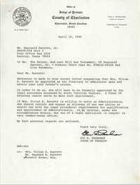 Letter from Gus Pearlman to Reginald Barrett Jr., April 18, 1986