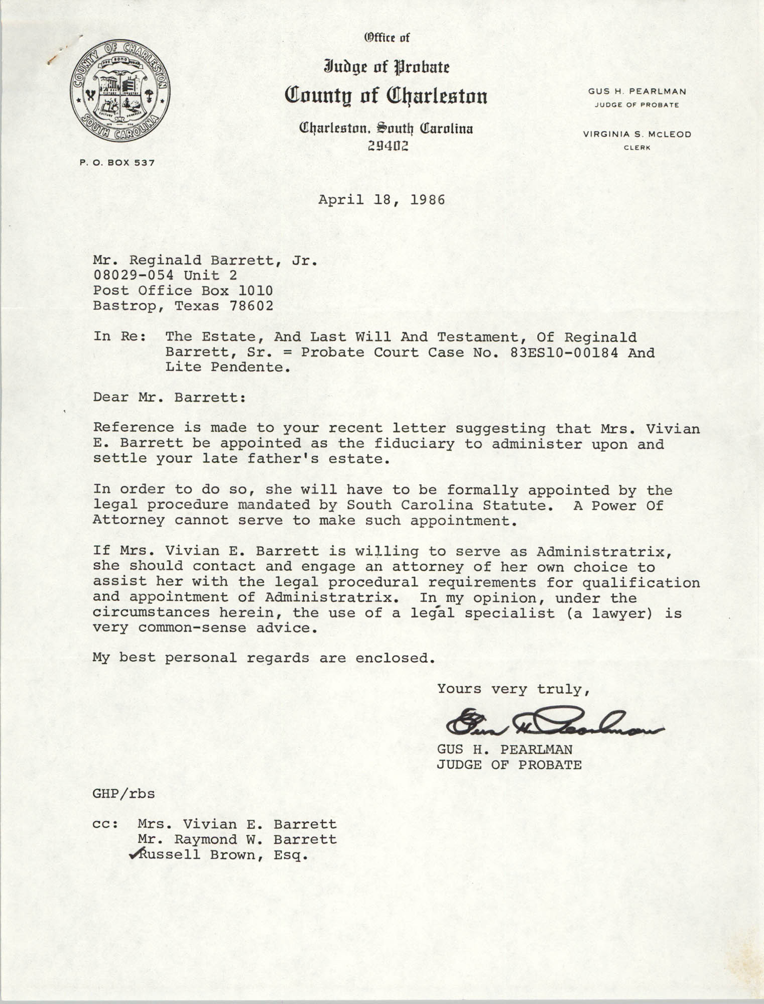 Letter from Gus Pearlman to Reginald Barrett Jr., April 18, 1986