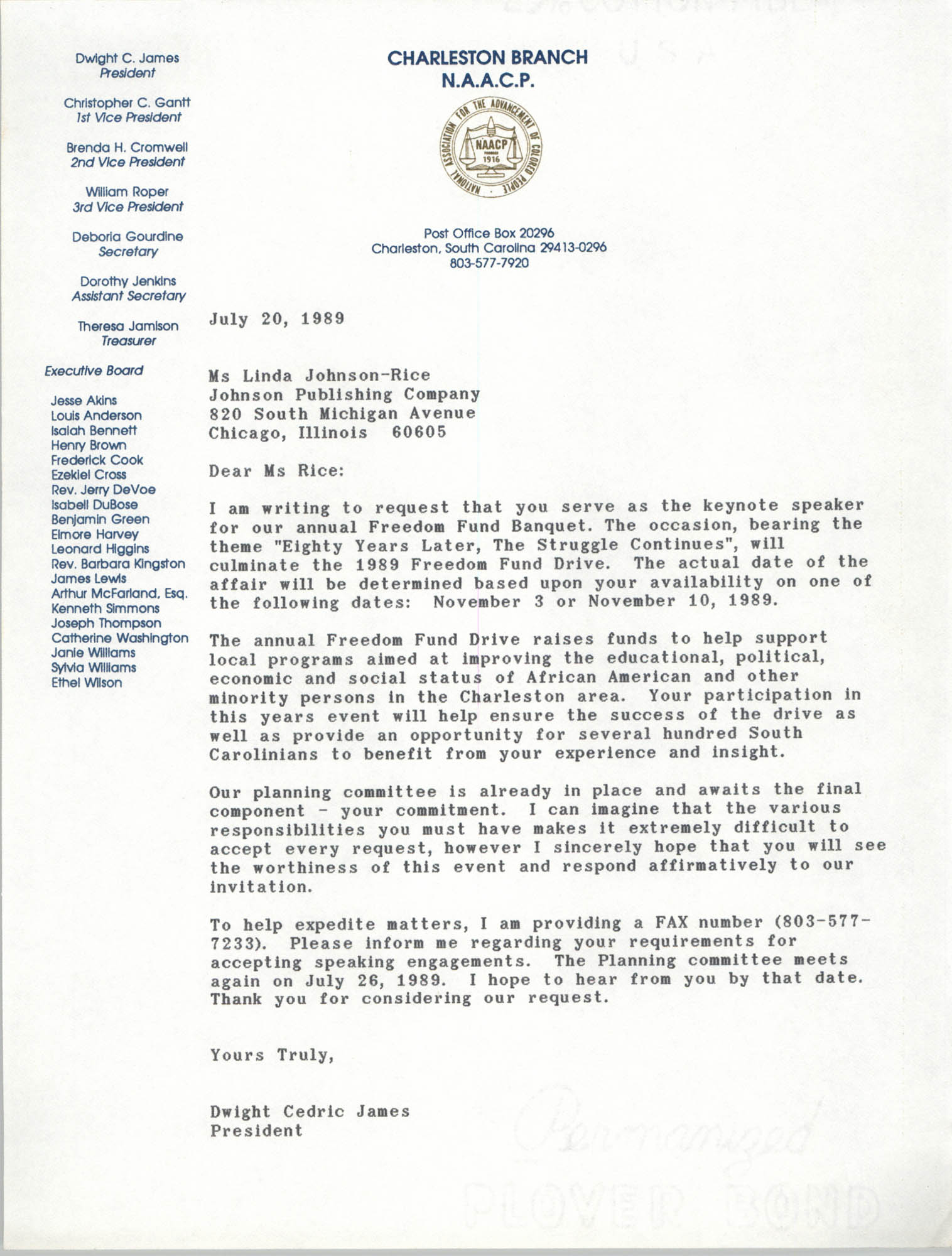 Letter from Dwight C. James to Linda Johnson-Rice, July 20, 1989