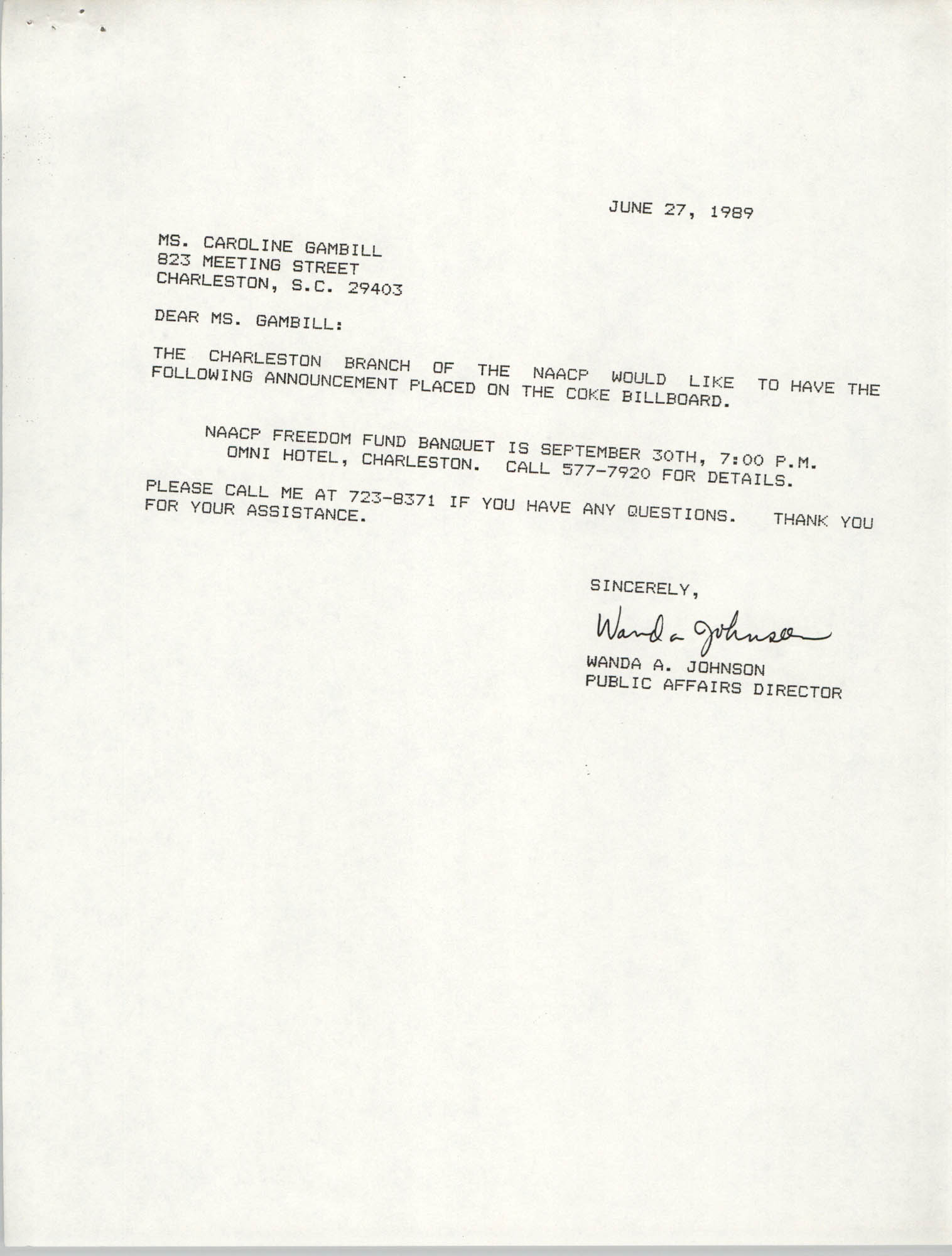 Letter from Wanda A. Johnson to Caroline Gambill, June 27, 1989