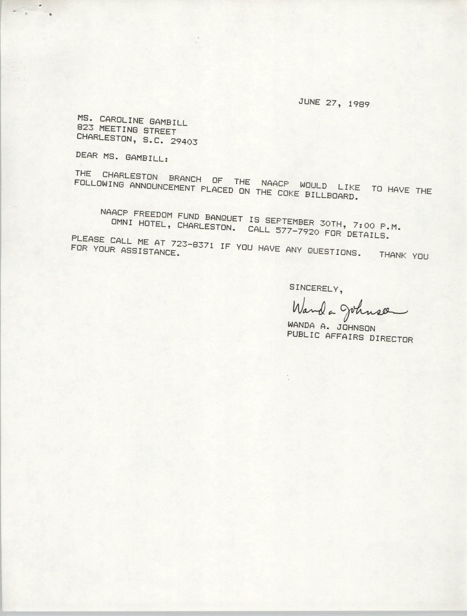 Letter from Wanda A. Johnson to Caroline Gambill, June 27, 1989