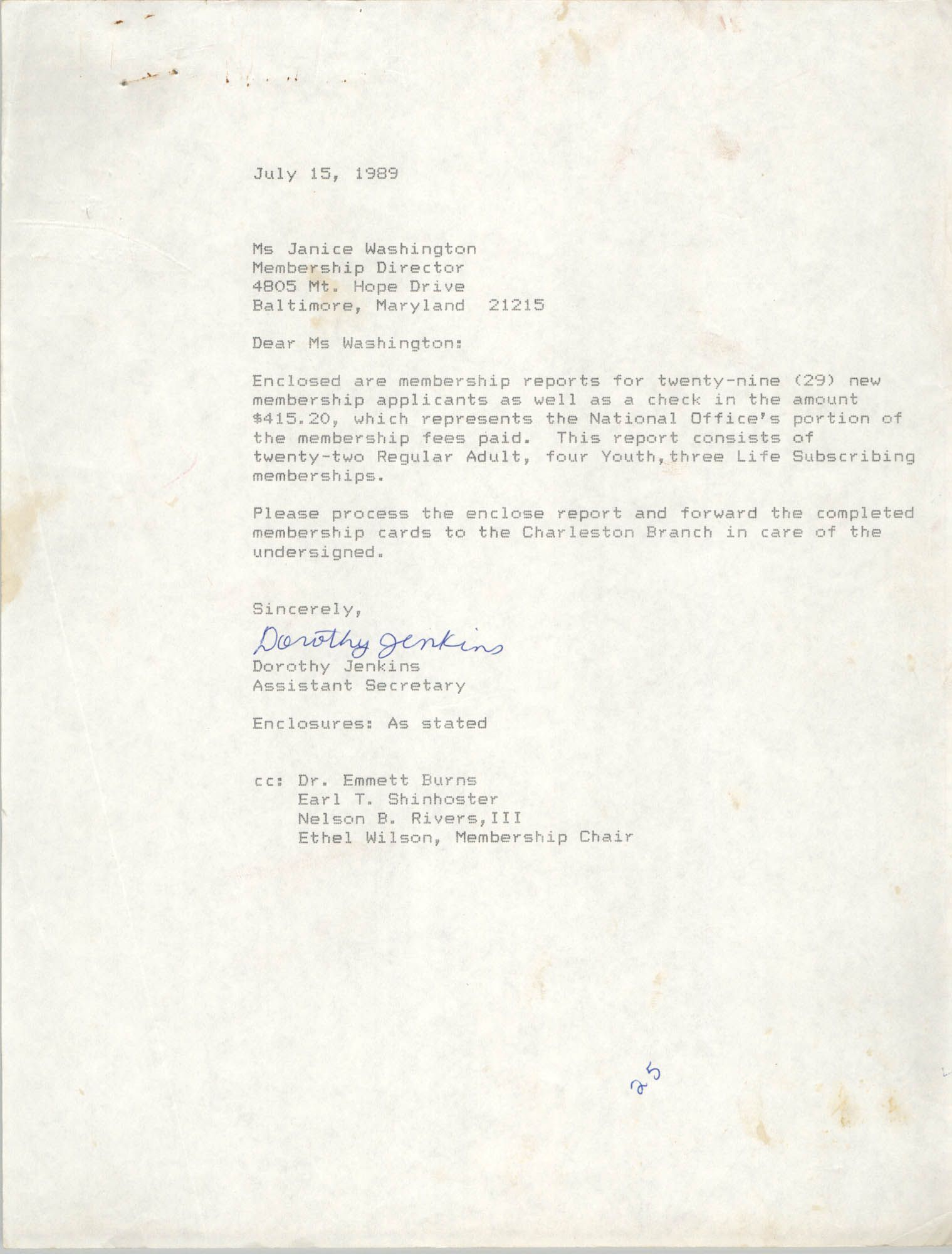 Letter from Dorothy Jenkins to Janice Washington, NAACP, July 15, 1989