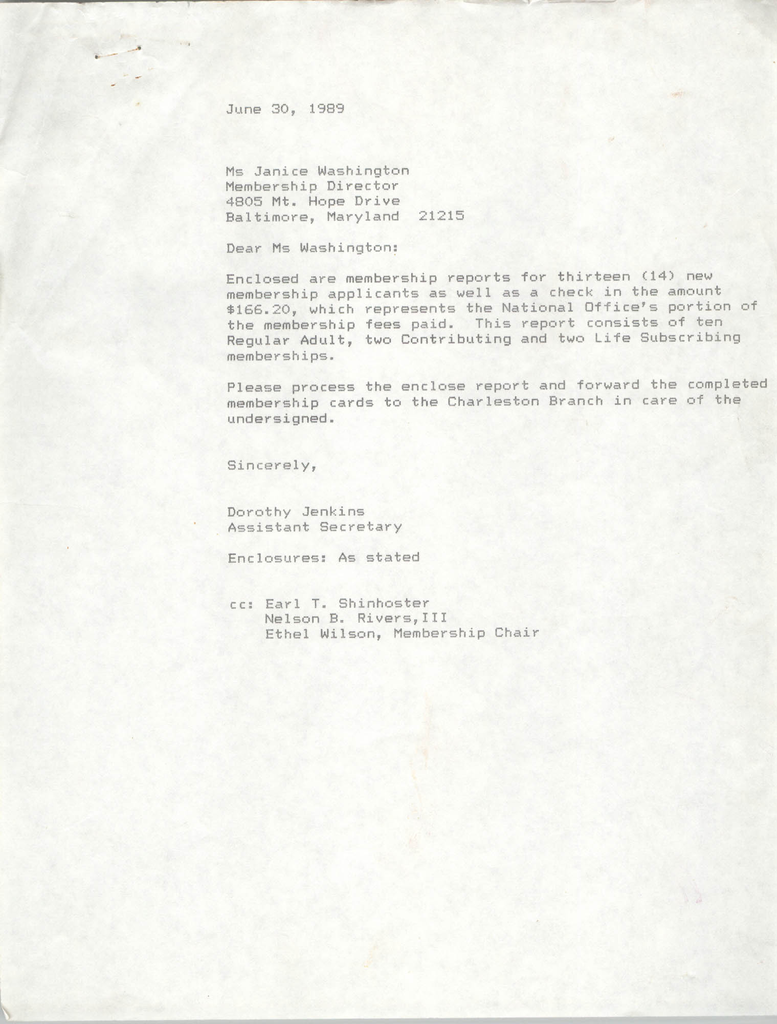 Letter from Dorothy Jenkins to Janice Washington, NAACP, June 30, 1989