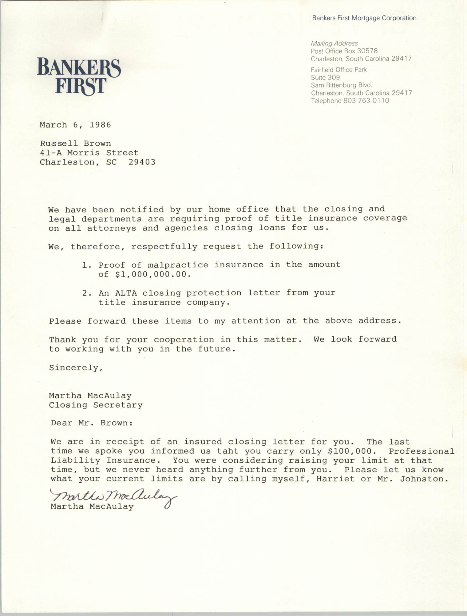 Letter from Martha MacAulay to Russell Brown,  March 6, 1986