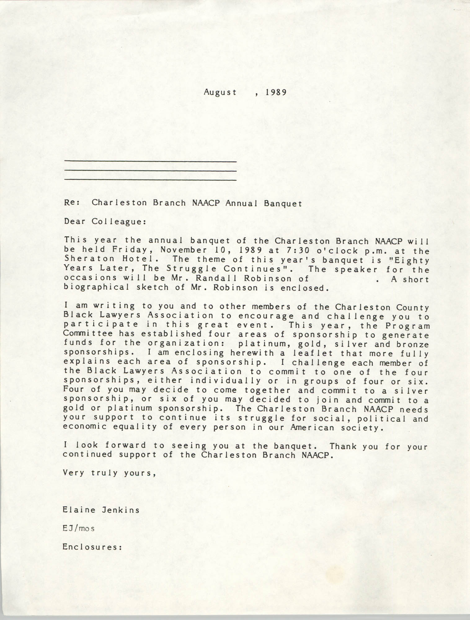 Letter from Elaine Jenkins to a Colleague, August 1989