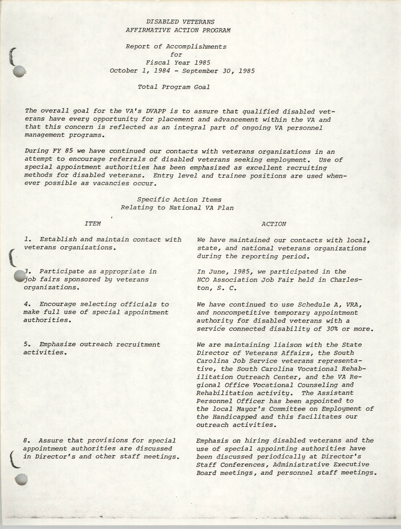 Disabled Veterans Affirmative Action Program, Report of Accomplishments for Fiscal Year 1985, Total Program Goal