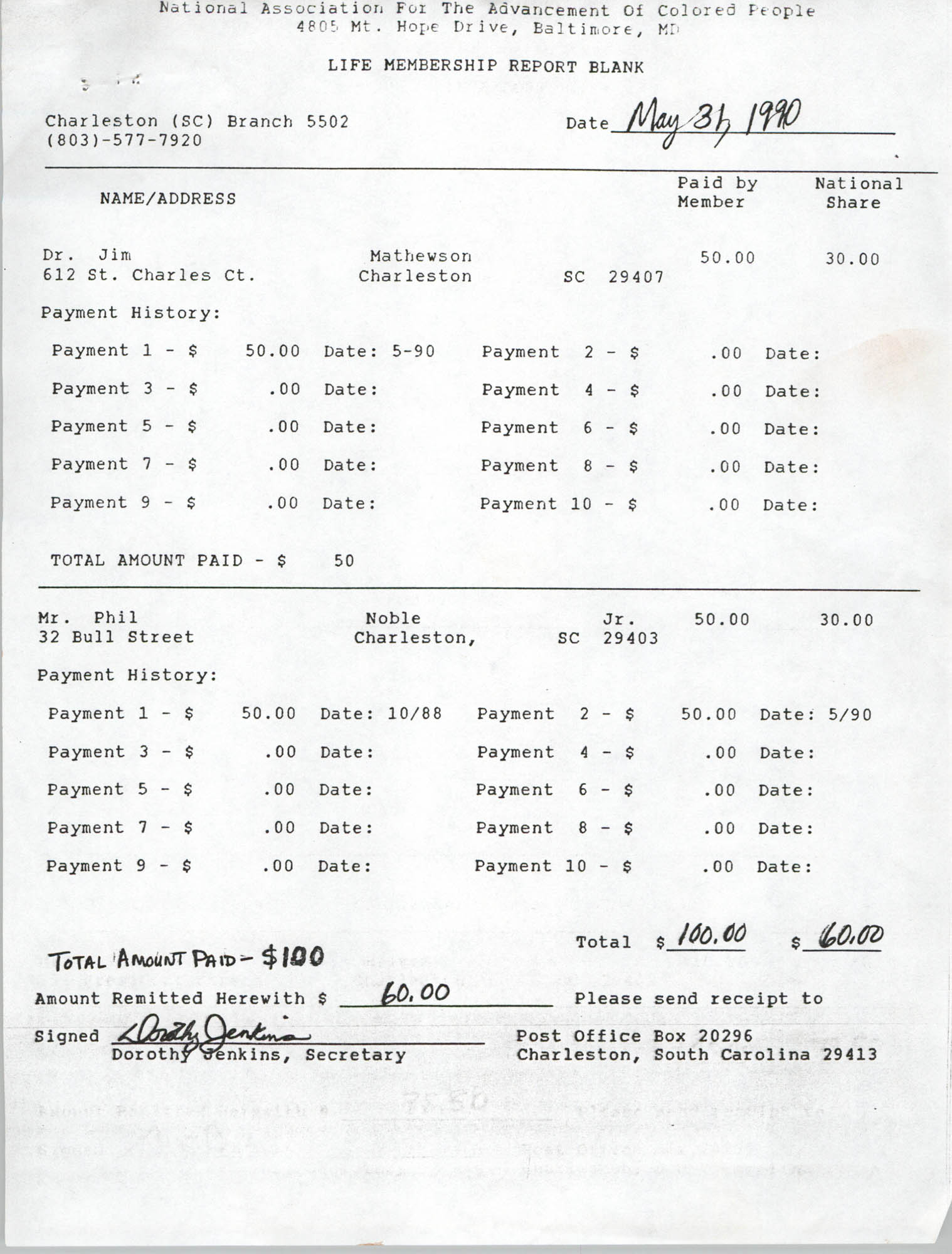 Life Membership Report Blank, Charleston Branch of the NAACP, Dorothy Jenkins, May 31, 1990