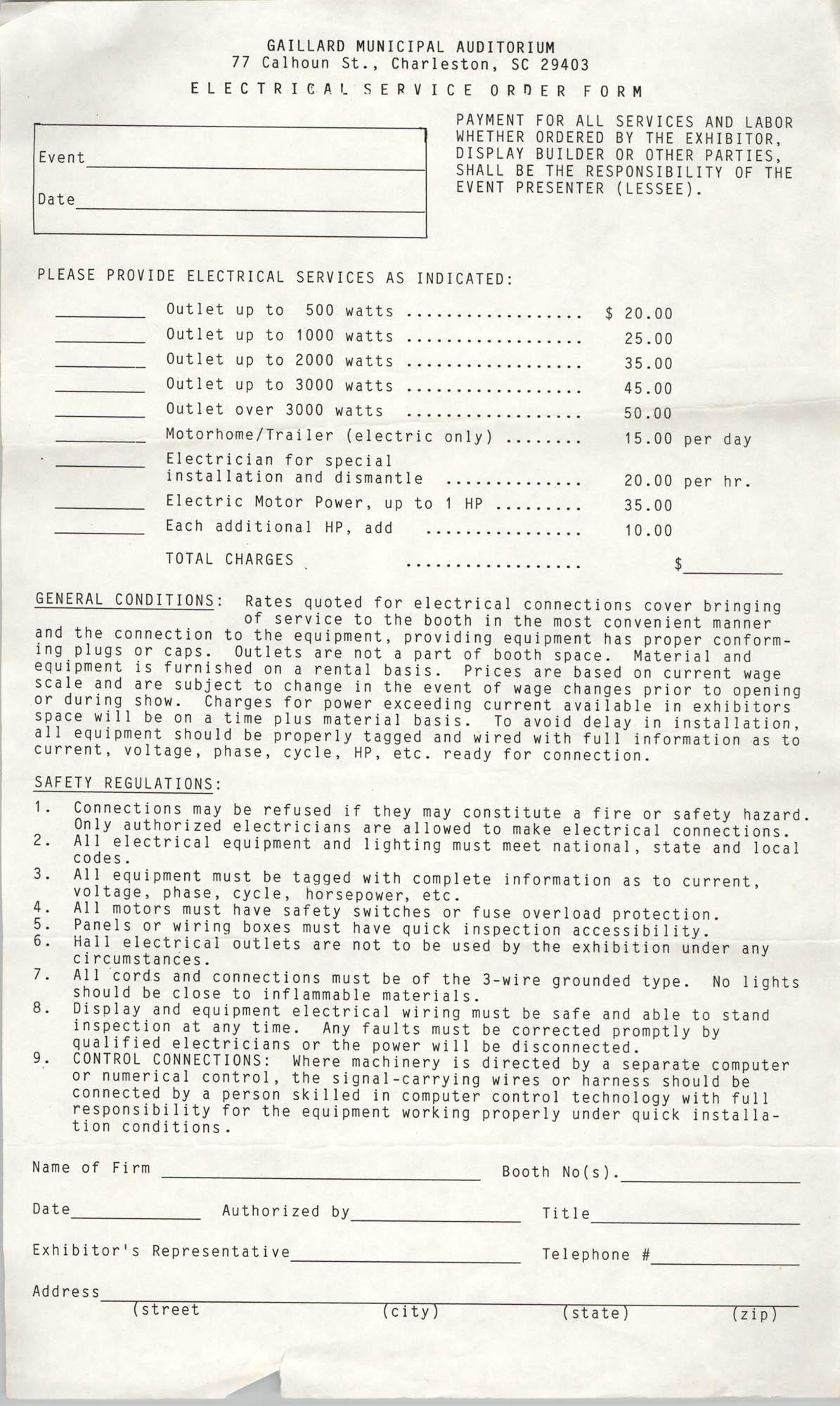 Electrical Service Order Form, Gaillard Municipal Auditorium