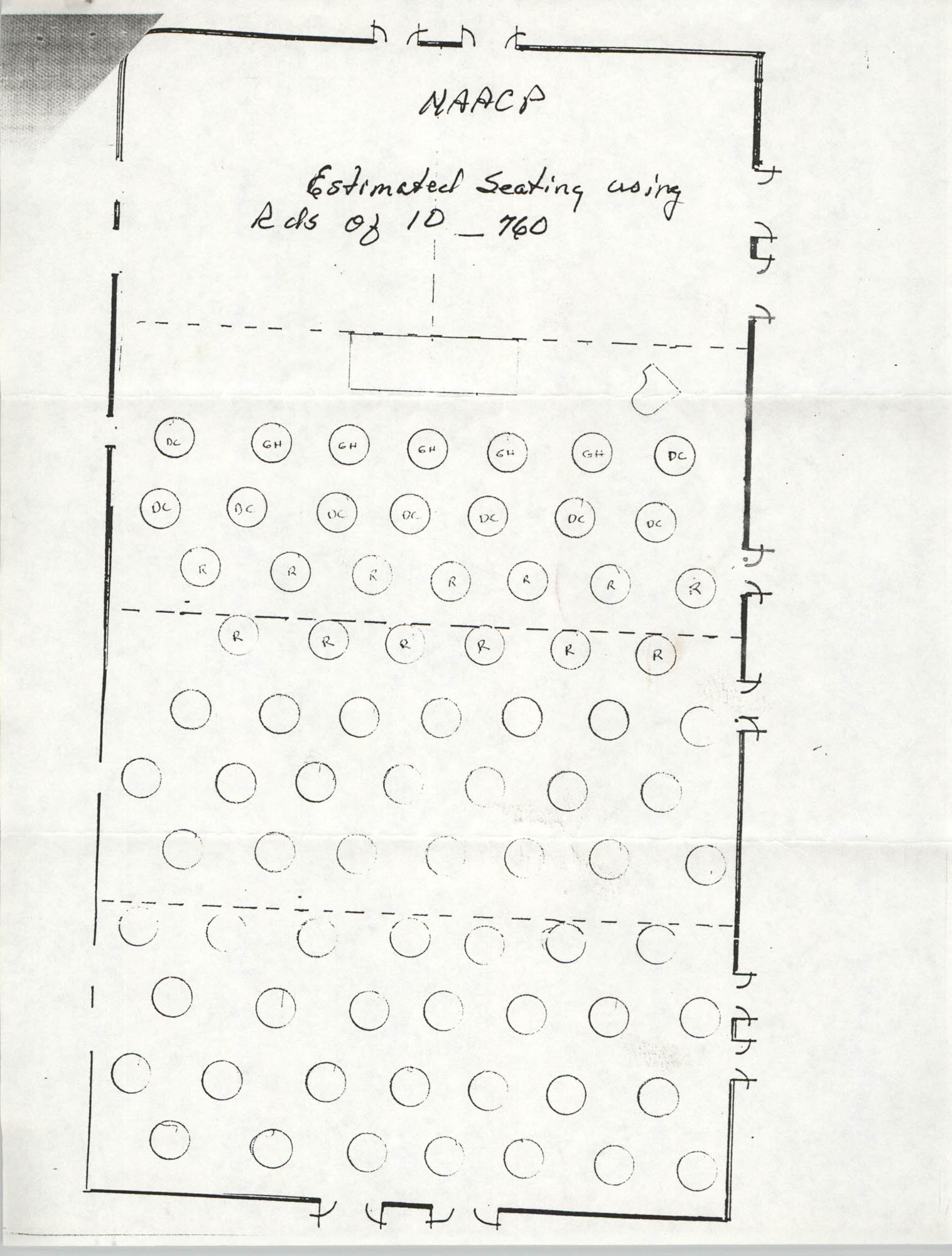 Estimated Seating Chart, Charleston Branch of the NAACP