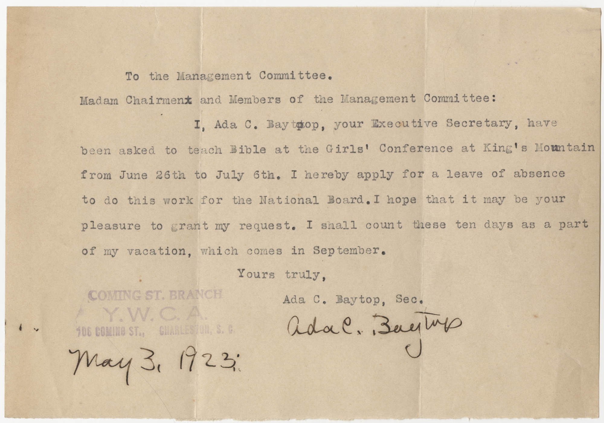 Letter from Ada C. Baytop to the Management Committee, Coming Street Y.W.C.A., May 3, 1923