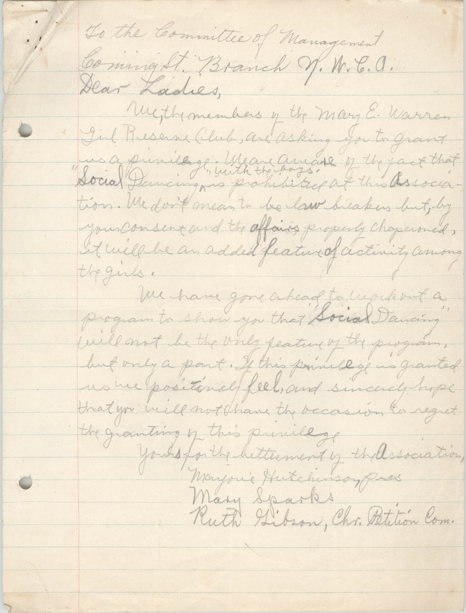 Letter from Mary Sparks and Ruth Gibson to the Committee of Management