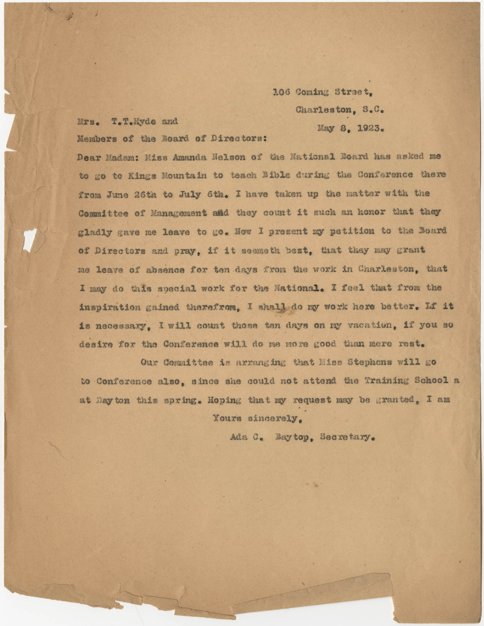 Letter from Ada C. Baytop to T. T. Hyde, May 8, 1923