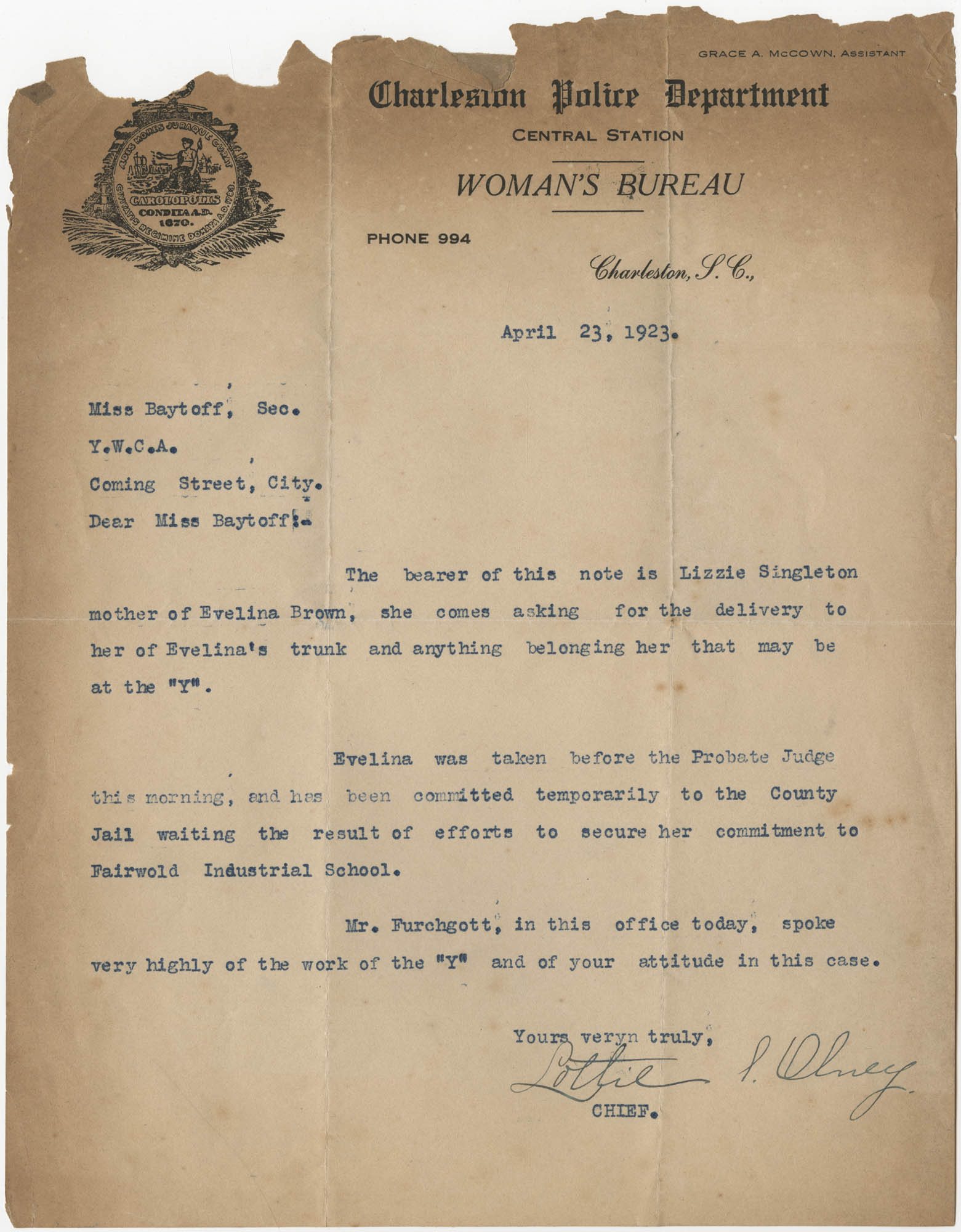 Letter from Lottie I. Olney to Ada C. Baytop, April 23, 1923