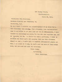Letter from Ada C. Baytop to Southern Printing and Publishing Co., March 30, 1923