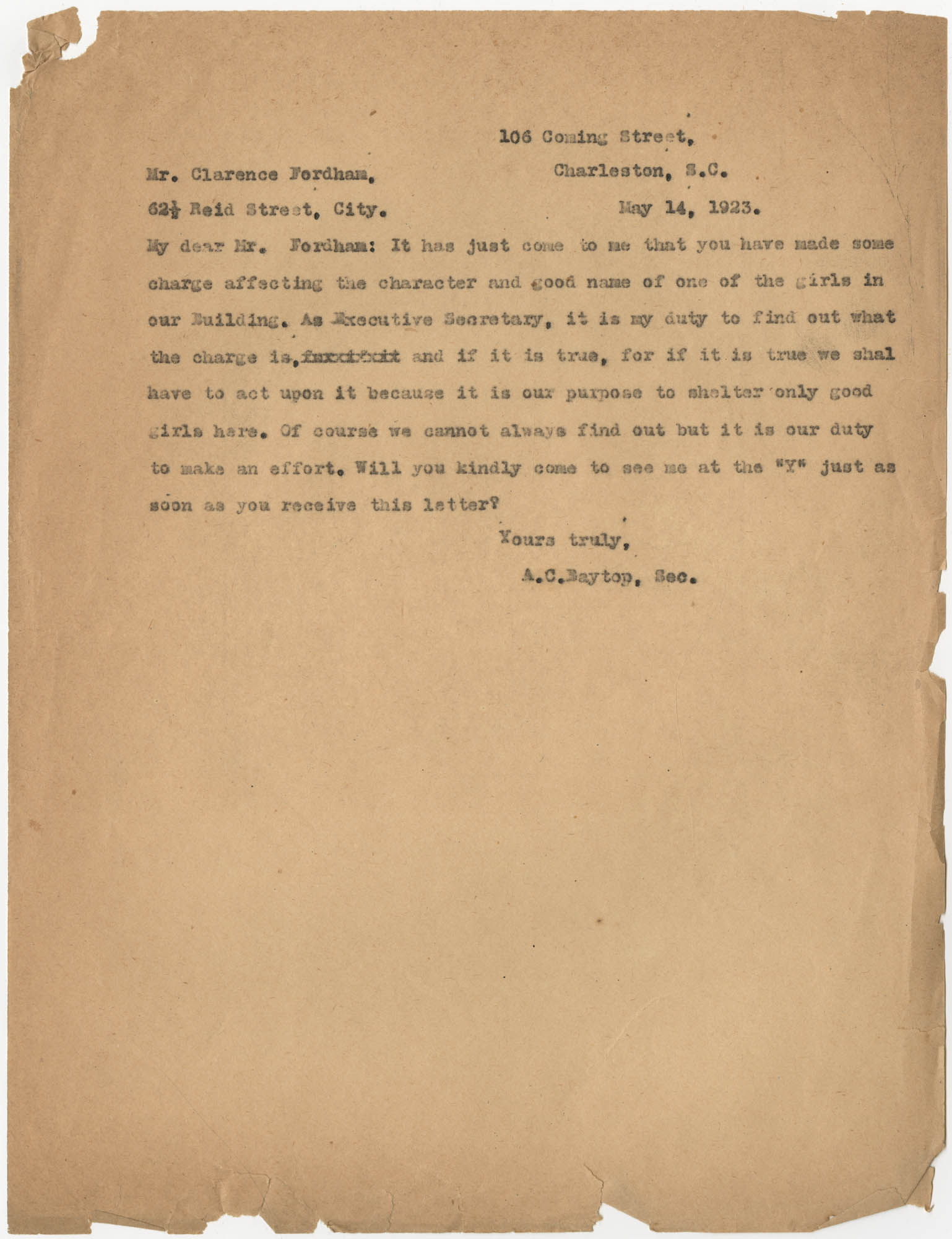 Letter from Ada C. Baytop to Clarence Fordham, May 14, 1923