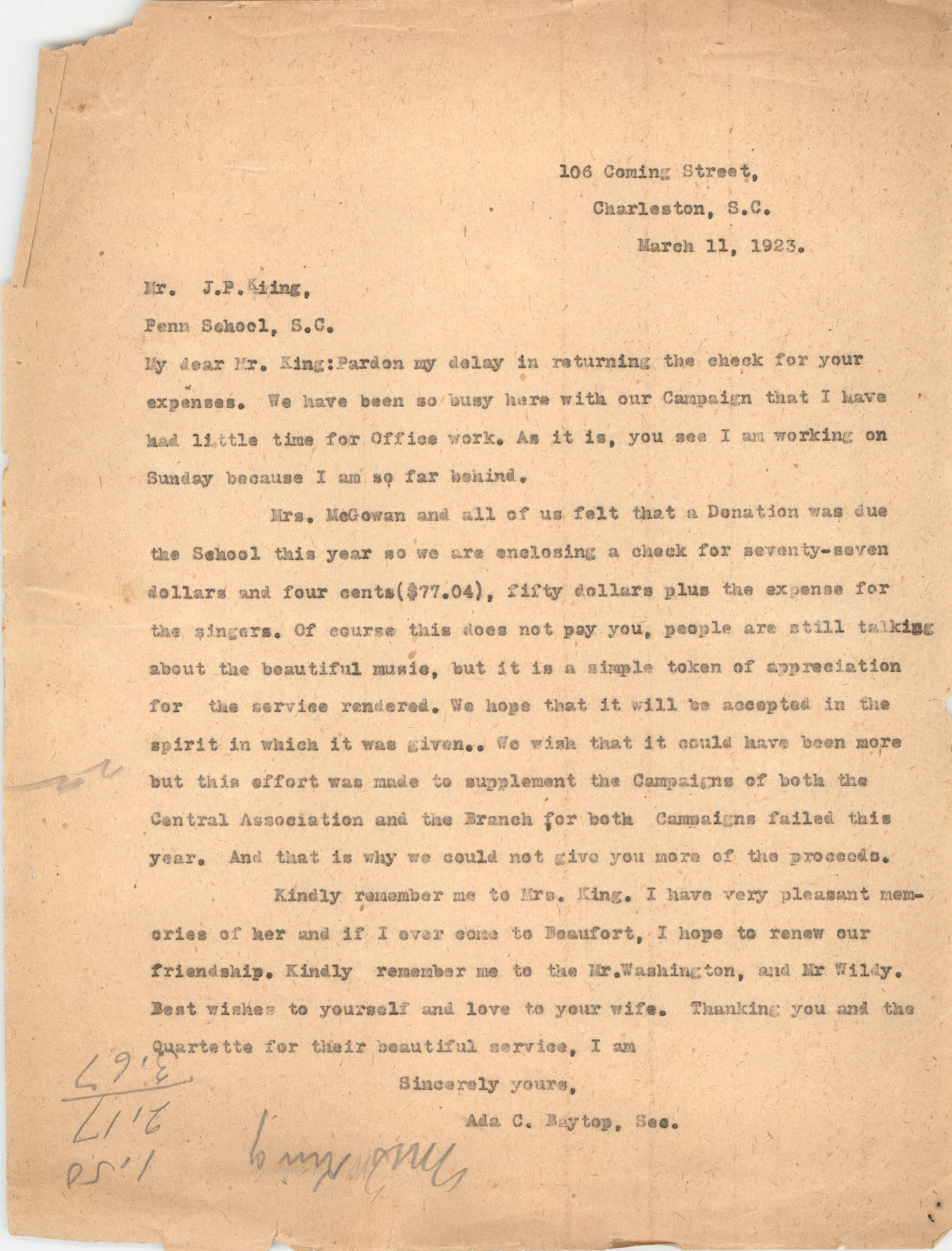 Letter from Ada C. Baytop to James P. King, March 11, 1923