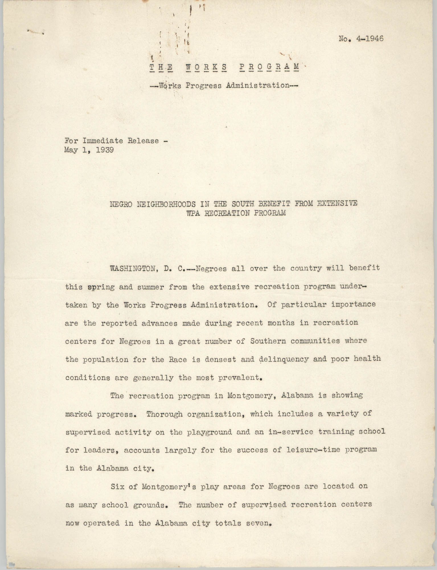 The Works Program, Press Release, May 1, 1939