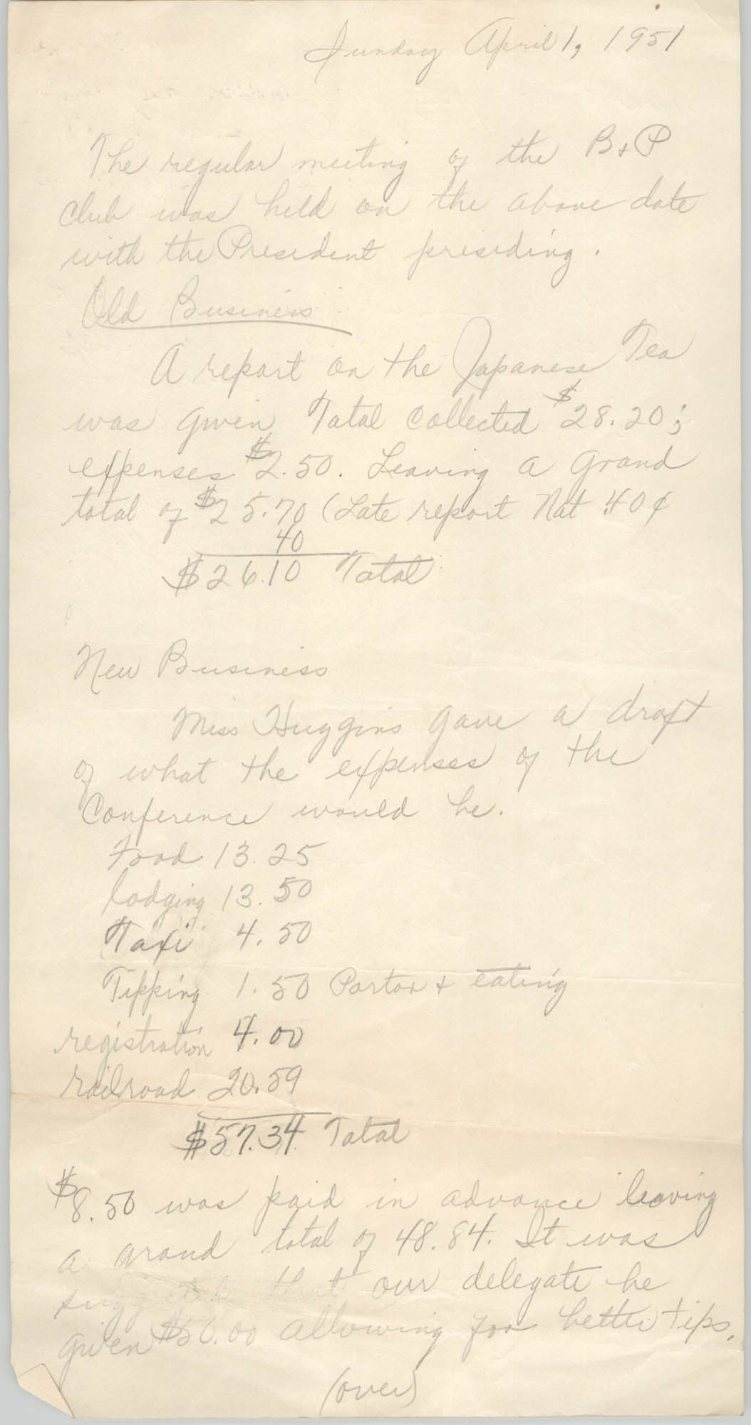 Minutes of the B. and P. Club, April 1, 1951