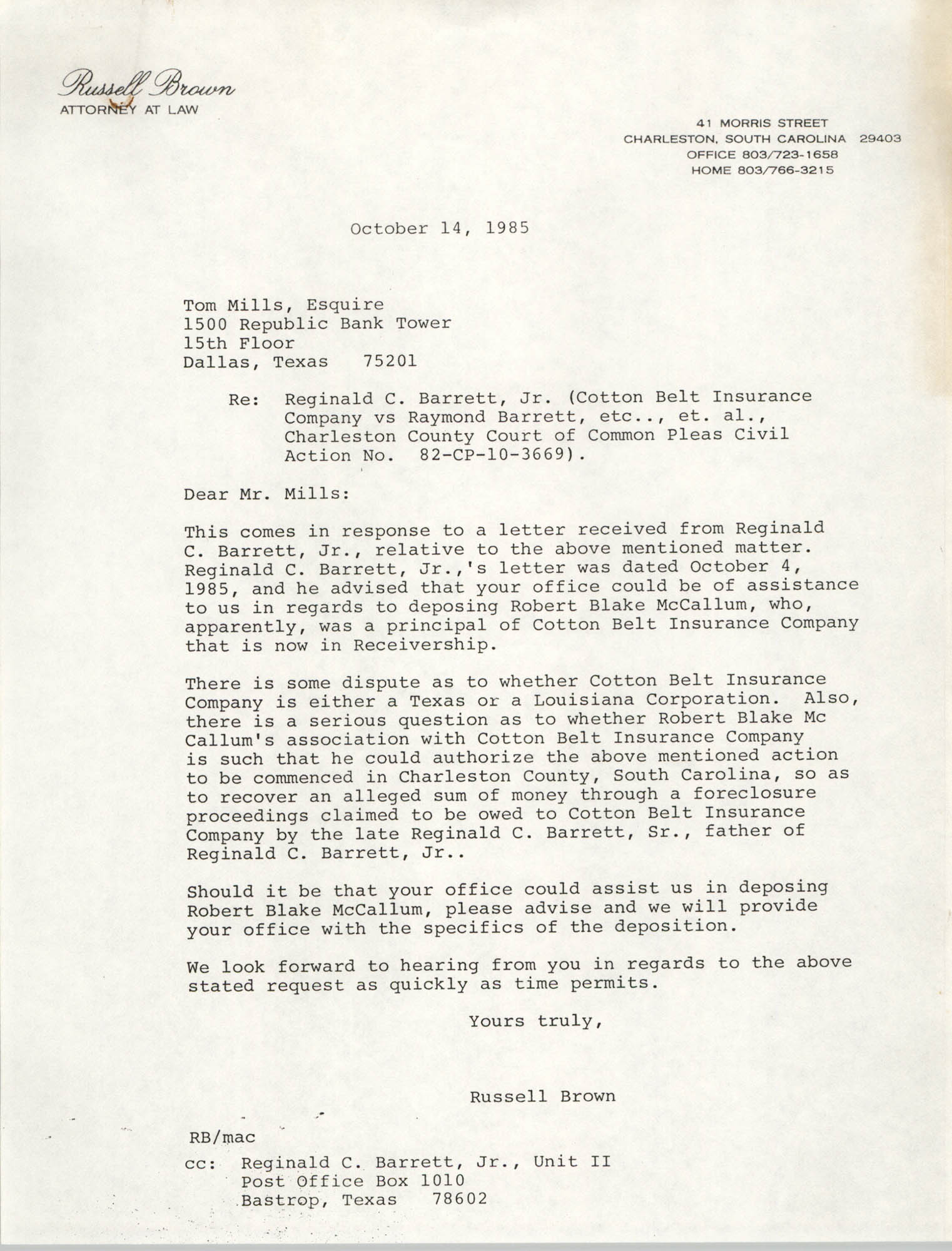Letter from Russell Brown to Tom Mills, October 14, 1985