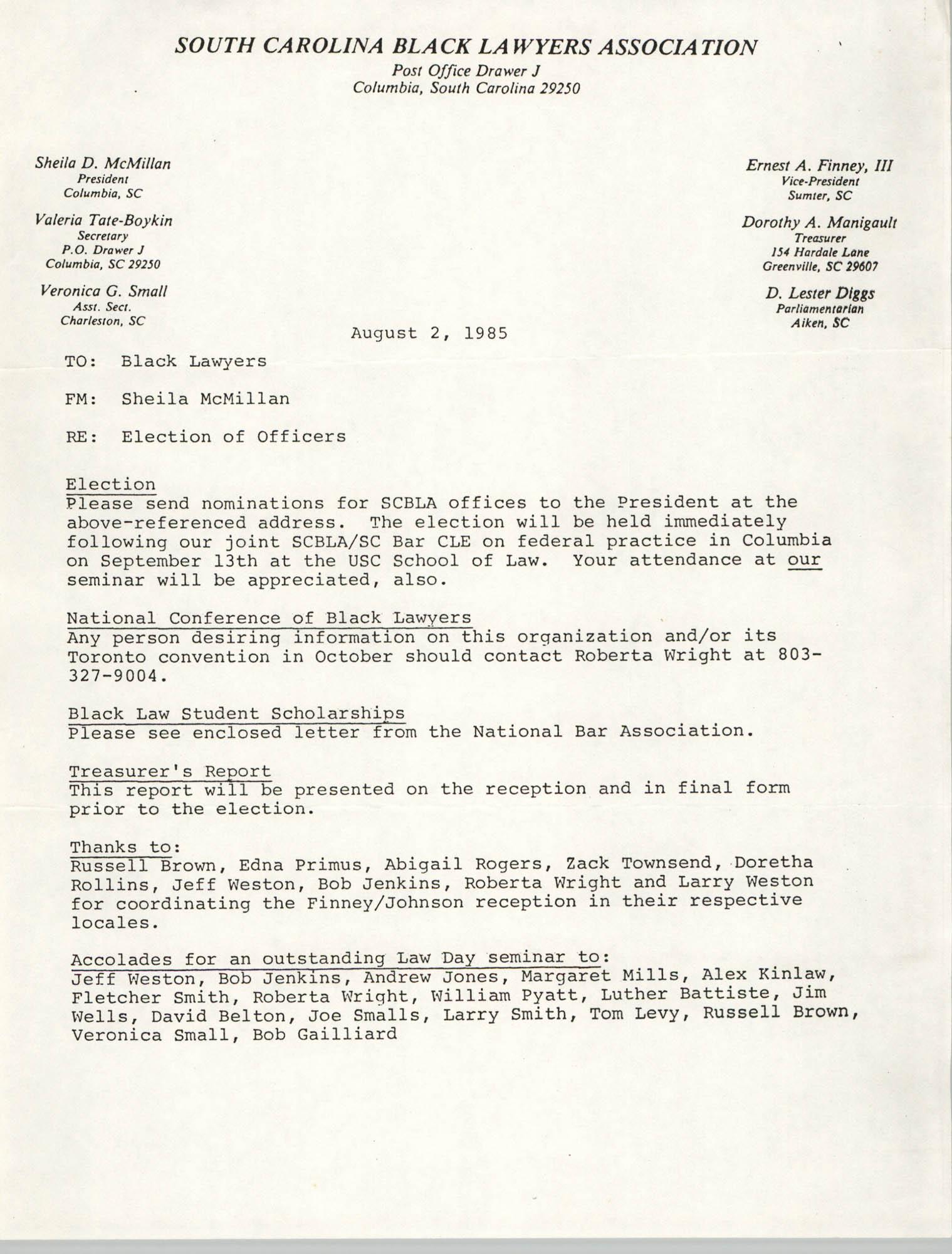 South Carolina Black Lawyers Association, Memorandum,  Sheila McMillan, August 2, 1985