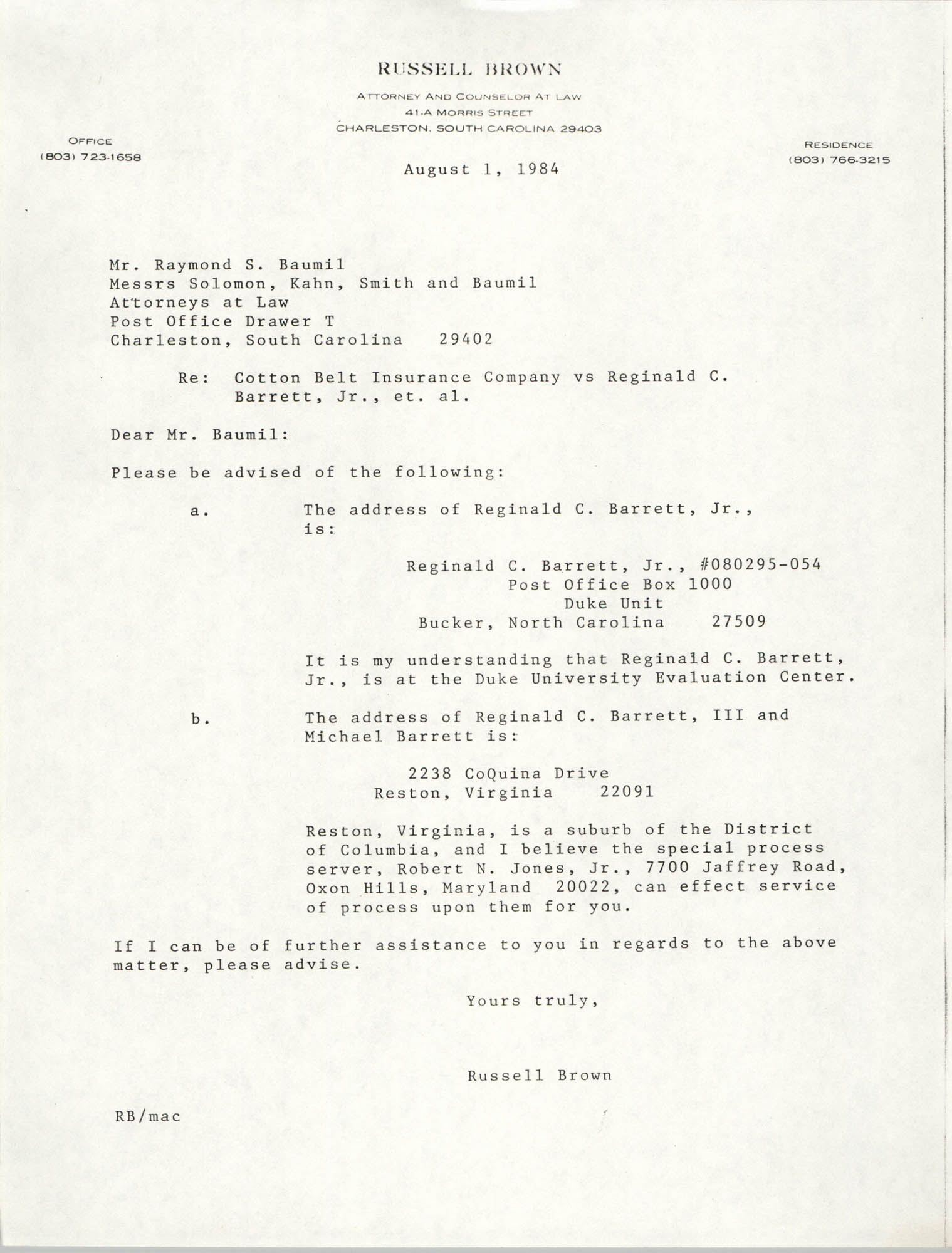 Letter from Russell Brown to Raymond S. Baumil, August 1, 1984
