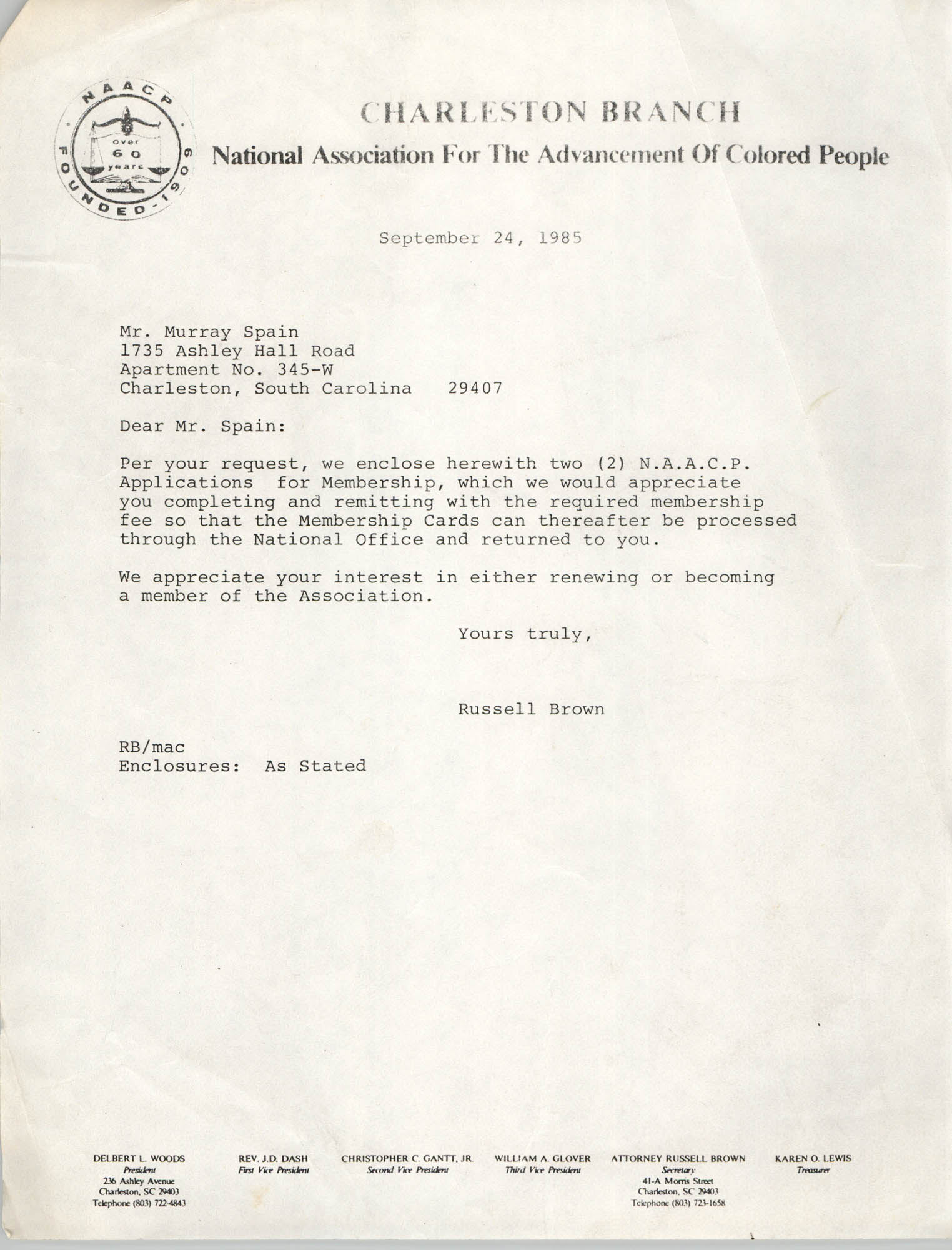 Letter from Russell Brown to Murray Spain, September 24, 1985