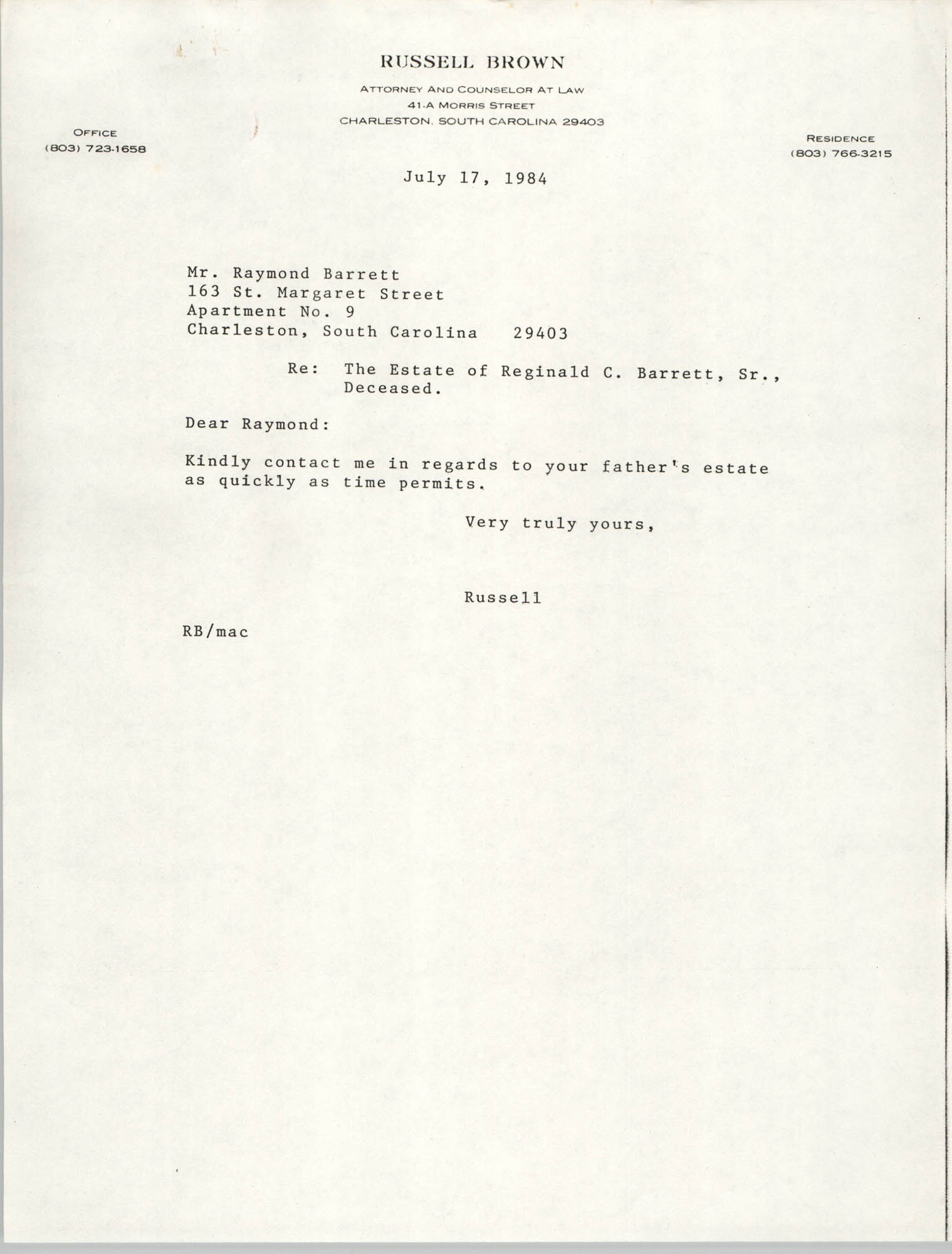 Letter from Russell Brown to Raymond W. Barrett, July 17, 1984