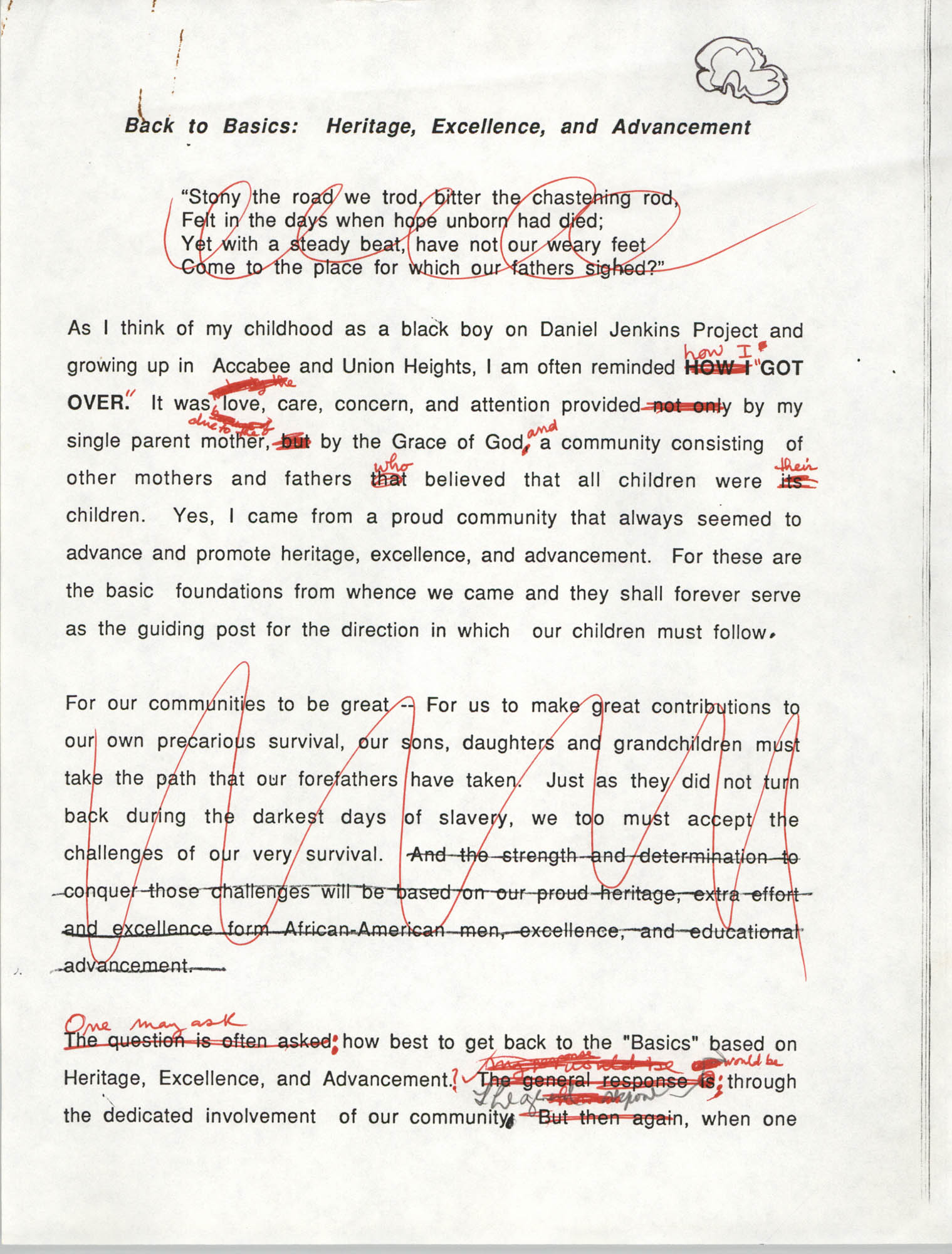 Draft, Speech, David C. Hoyd