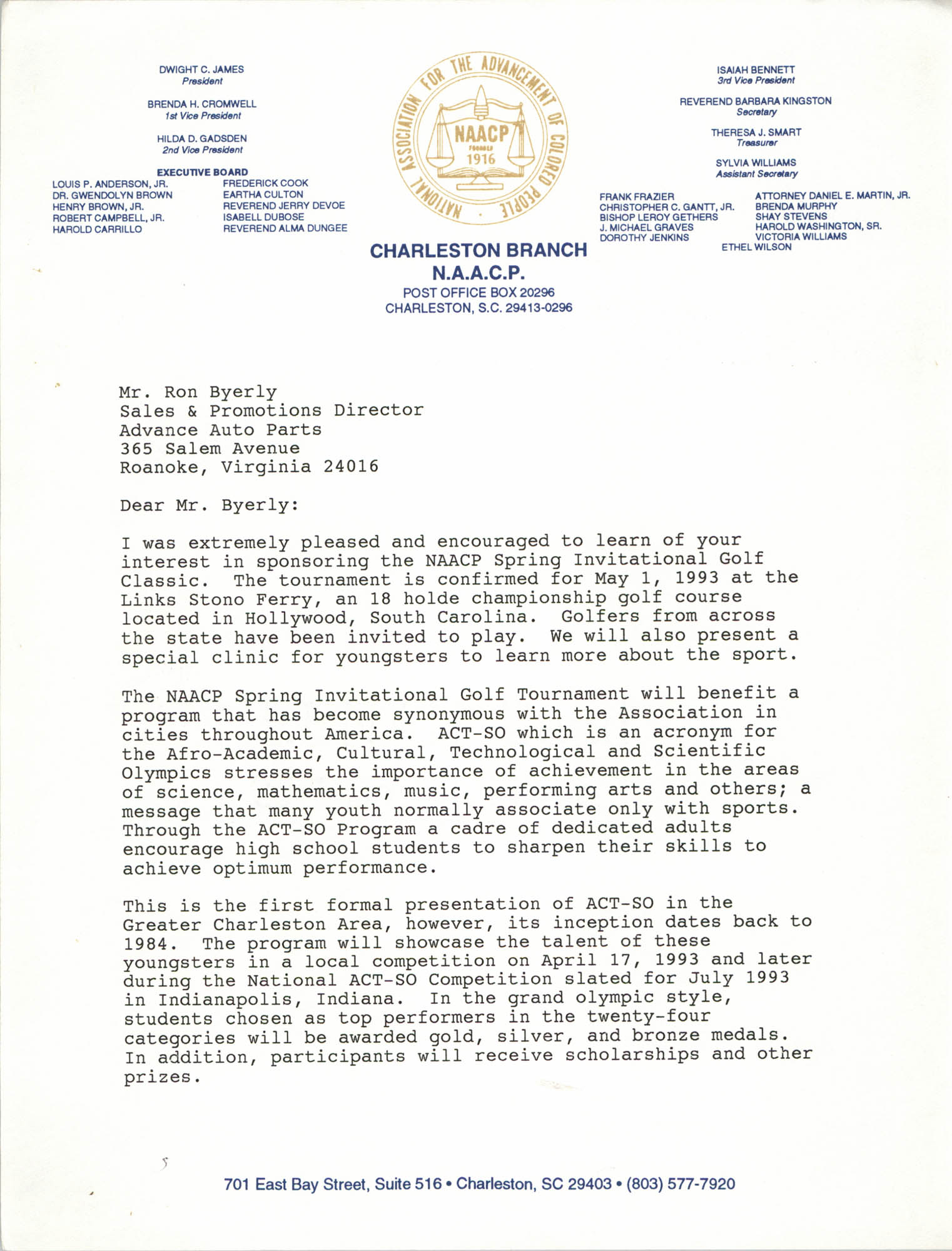 Letter from Dwight James to Ron Byerly
