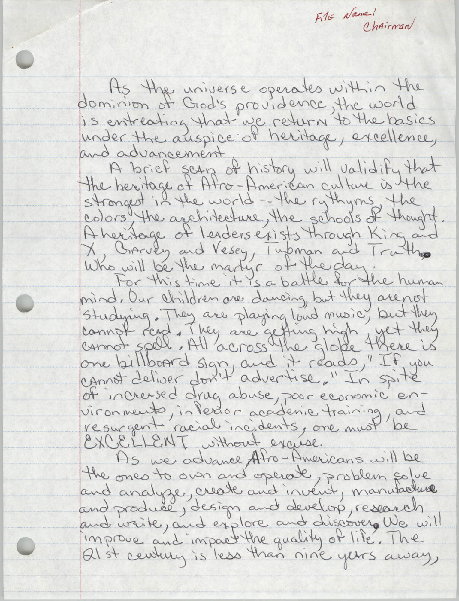 Handwritten Speech, Christopher Brown