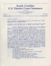 South Carolina U.S. District Court Summary, Vol. 1, Issue 1, November 15, 1983