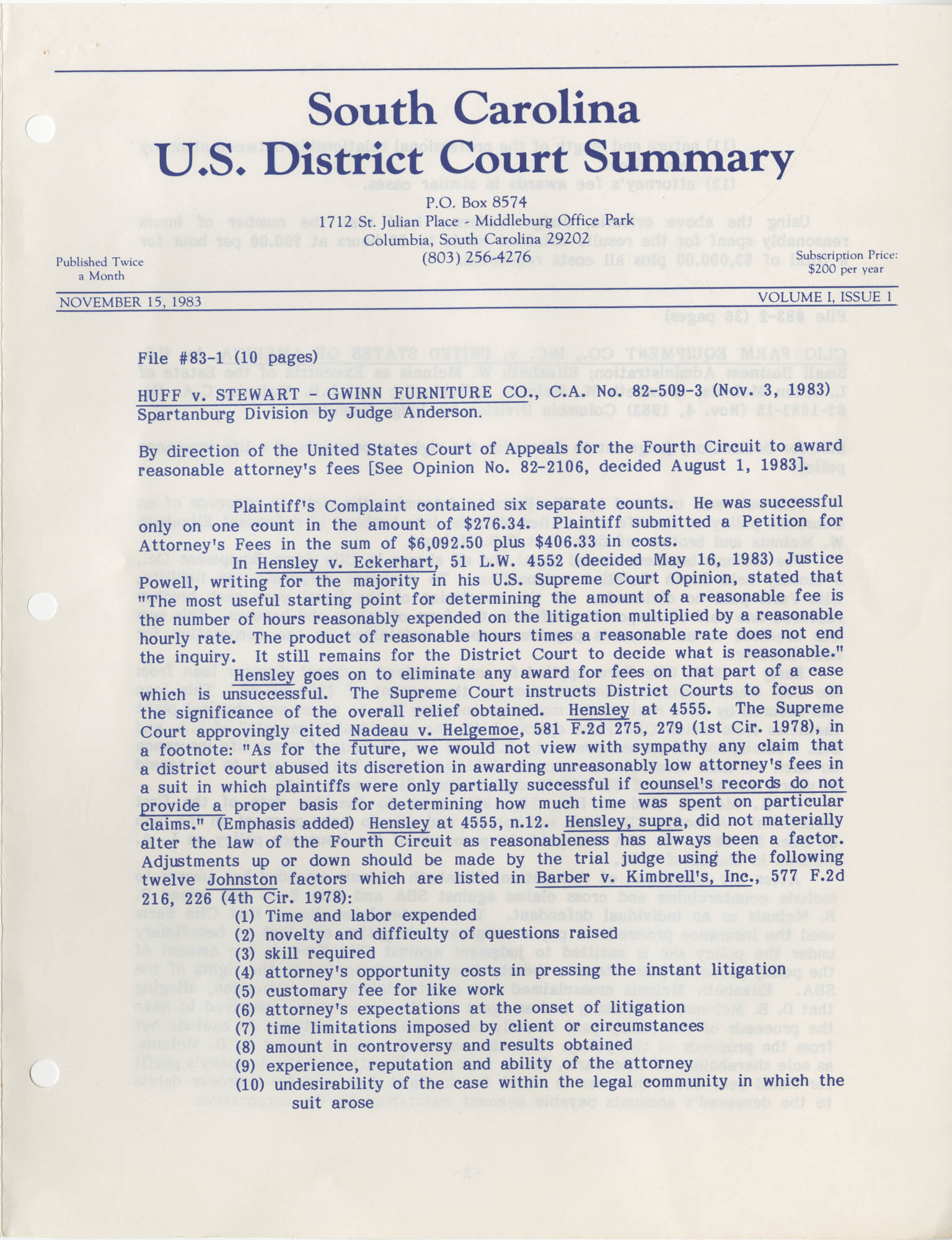 South Carolina U.S. District Court Summary, Vol. 1, Issue 1, November 15, 1983