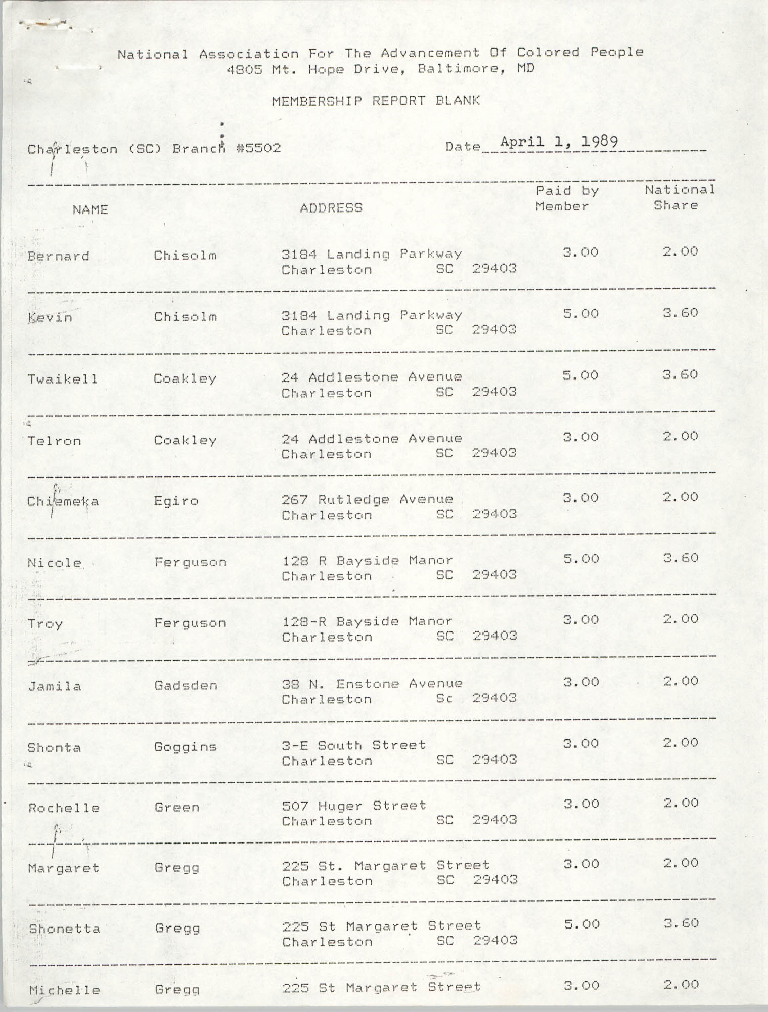Membership Report Blank, Charleston Branch of the NAACP, Deboria D. Gourdine, April 1, 1989