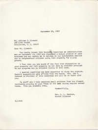 Letter from Christine O. Jackson to William J. Clement, September 19, 1967