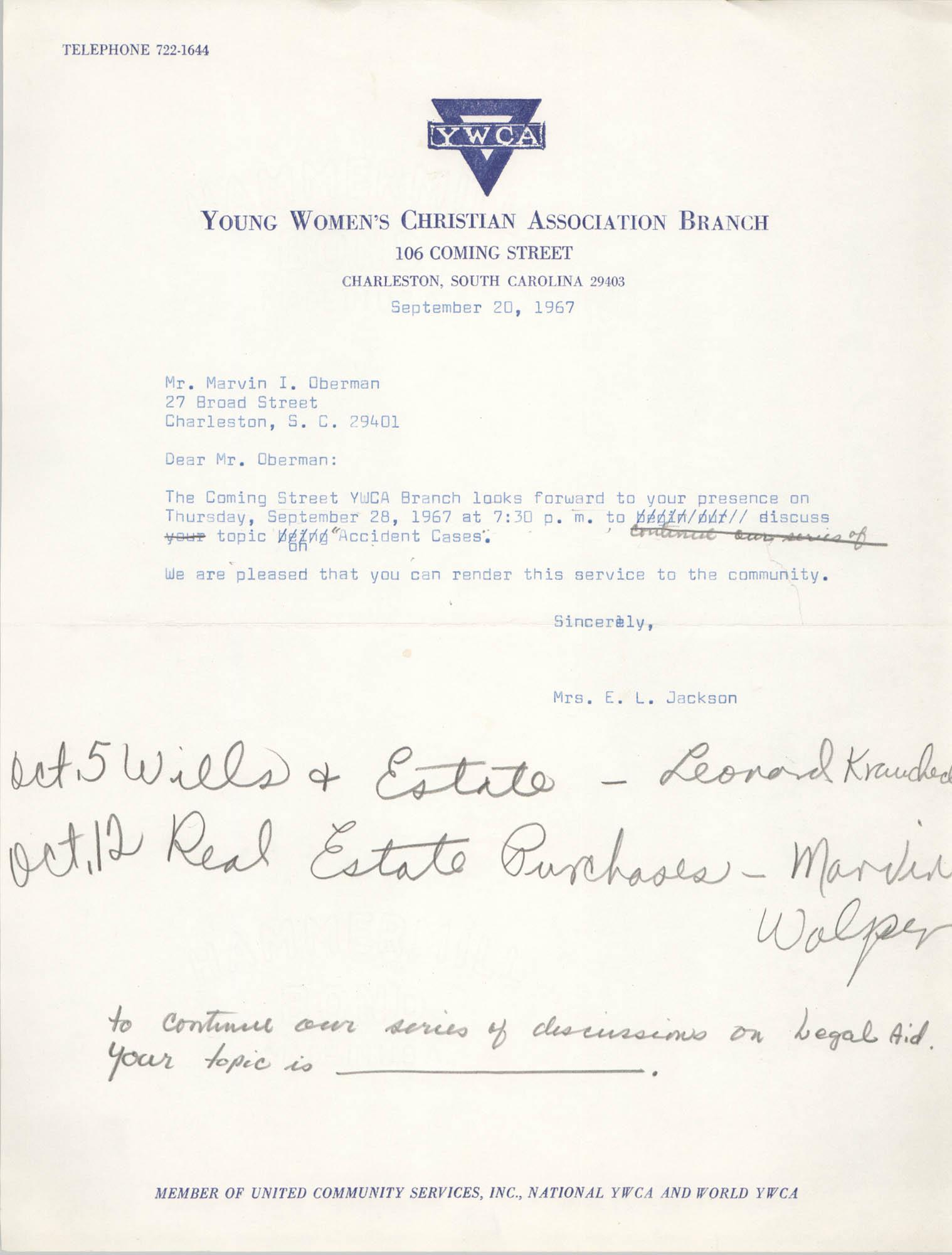 Letter from Christine O. Jackson to Marvin I. Oberman, September 20, 1967