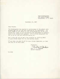 Letter from Christine O. Jackson to Parents, September 13, 1967