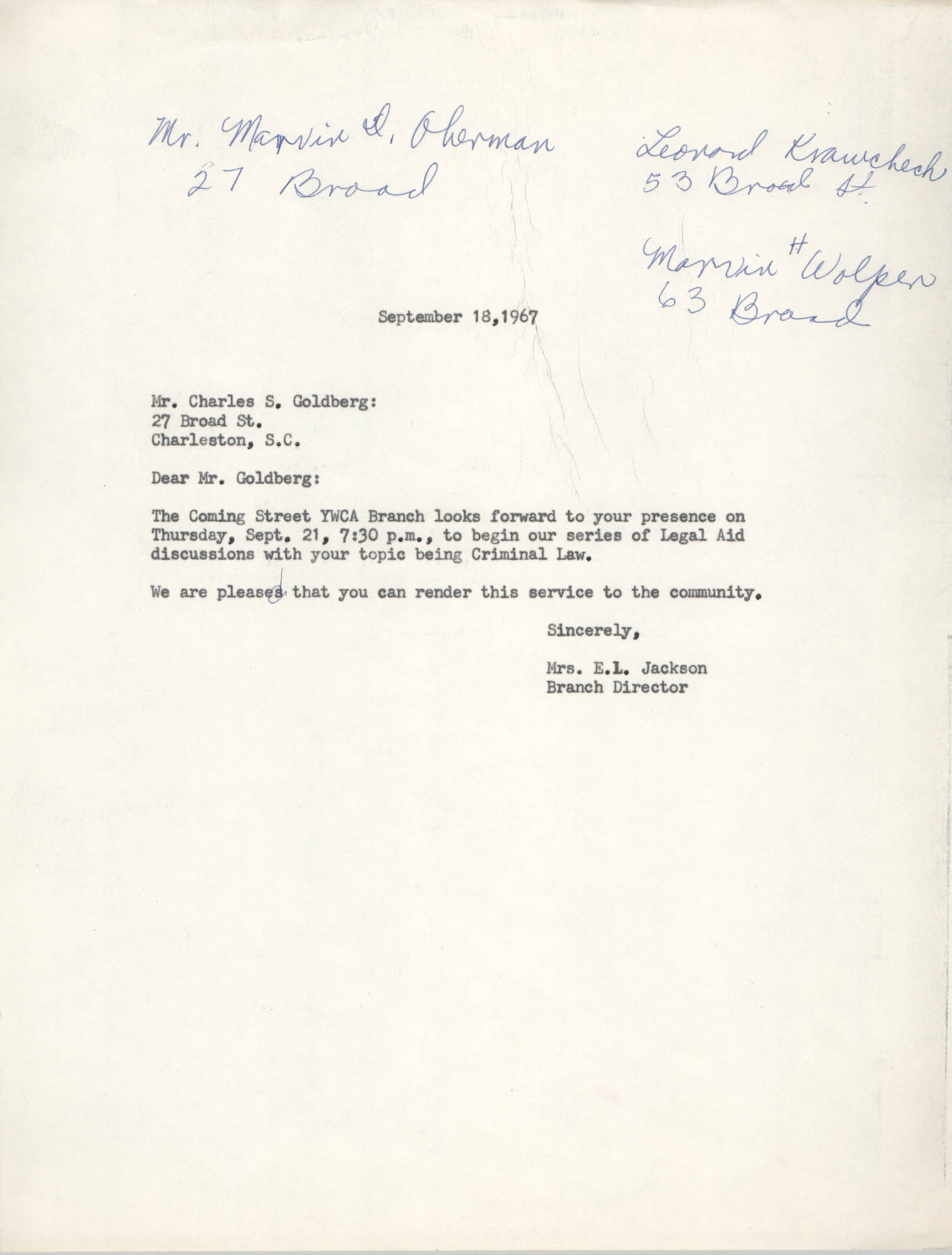Letter from Christine O. Jackson to Charles S. Goldberg, September 18, 1967