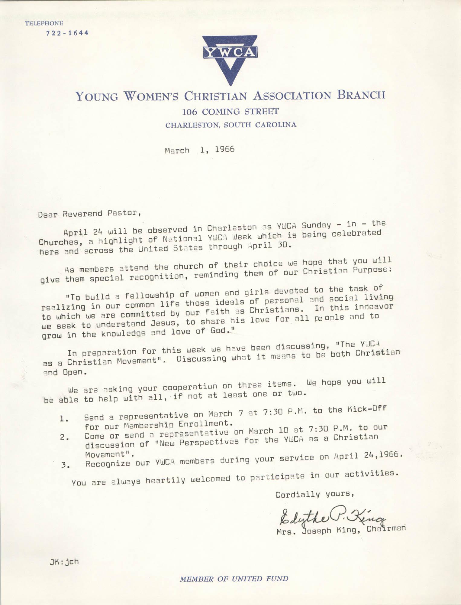 Letter from Mrs. Joseph King to