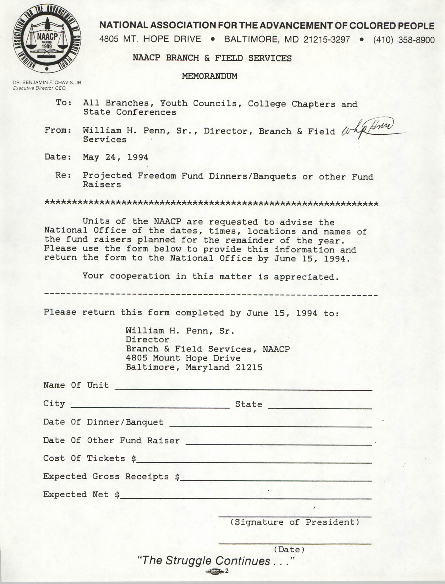 Memorandum, William H. Penn, Sr., May 24, 1994
