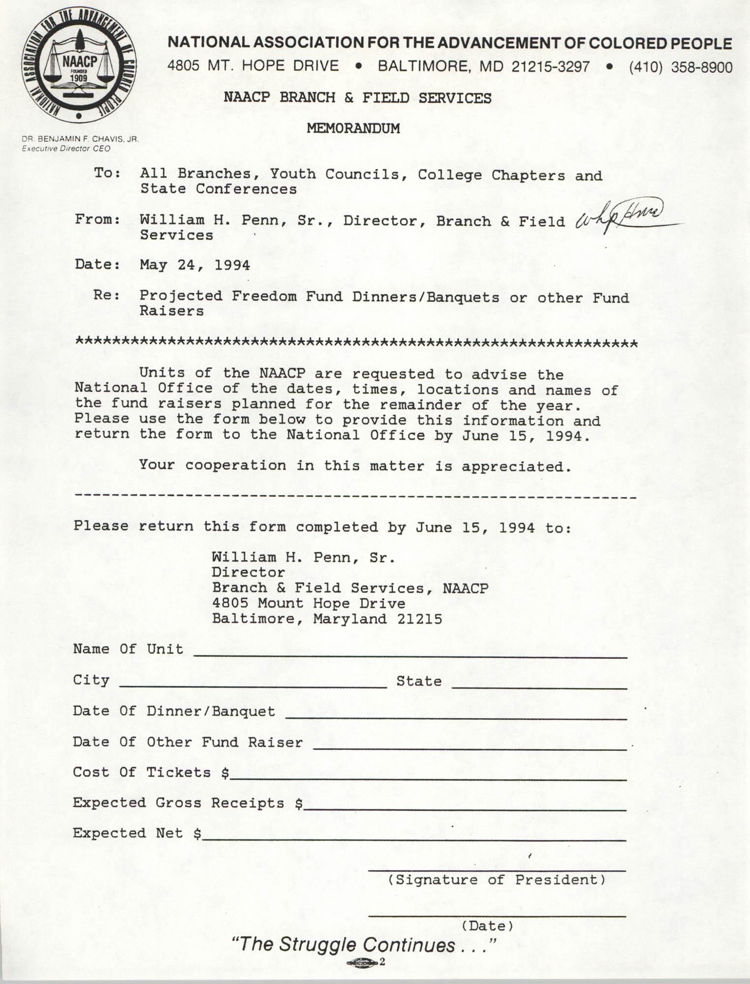 Memorandum, William H. Penn, Sr., May 24, 1994